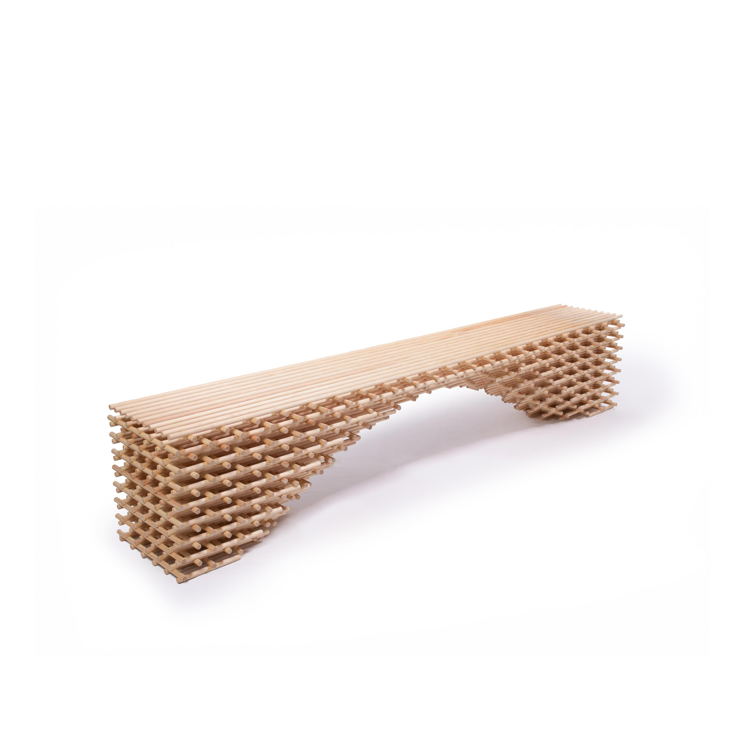 "Brodie Neill Latitude Bench - Longstanding champion of upcycling waste into new material streams, Brodie has reused 422 dowels to create a sculptural bench, ""Latitude"". Handcrafted in Brodie's East London studio, ""Latitude"" uses a lattice-like technique reminiscent of traditional Japanese bamboo constructions where linear elements are bound together to create seemingly simple scaffolding-like structures. 