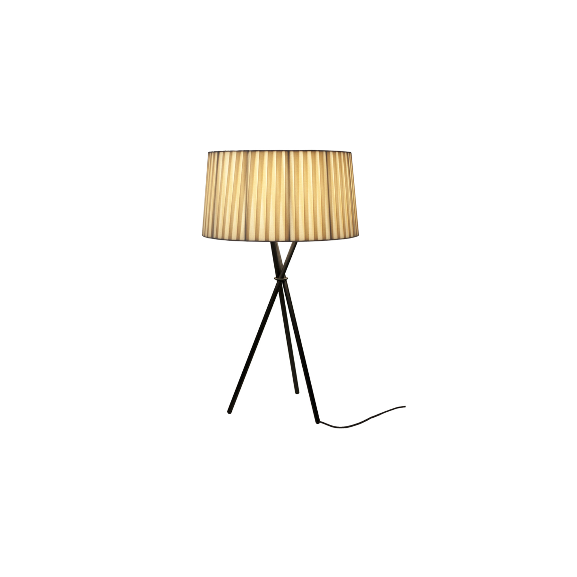 Tripode M3 Table Lamp - The Trípode M3 Table Lamp has a hand made lampshade made from banded ribbon wrapped around a conical frame with a base made from three tubular metal rods with a textured black finish. This lamp is perfect for adding a soft light to a room and the different lampshade colours mean that you can choose whichever colour is best for your space. 