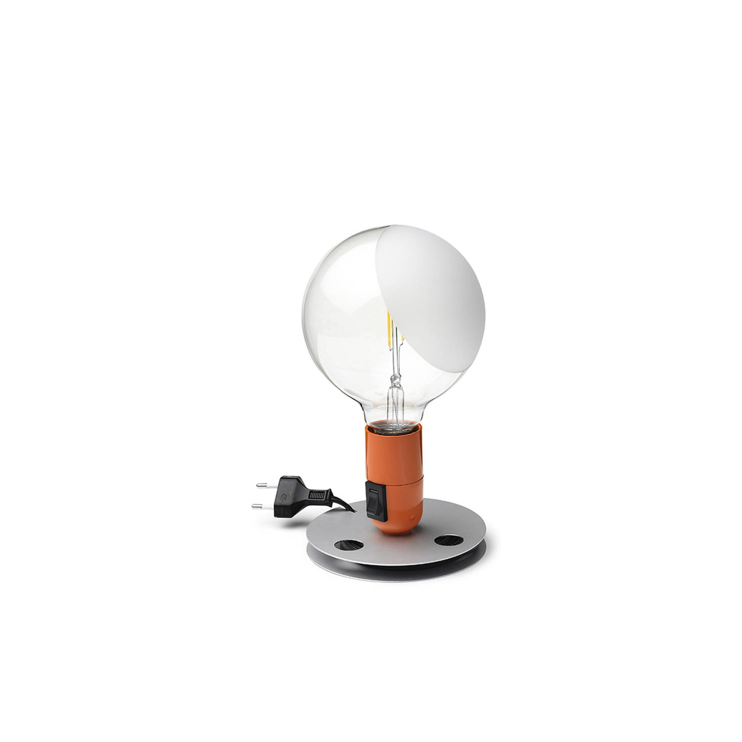 Lampadina Table Lamp - Table lamp providing direct, diffused light. Anodized aluminum base serves to contain excess power cord. Bakelite lamp-holder, painted to match the switch in the orange and black colors. Clear globe lamp is partially sandblasted to diffuse the light.  | Matter of Stuff