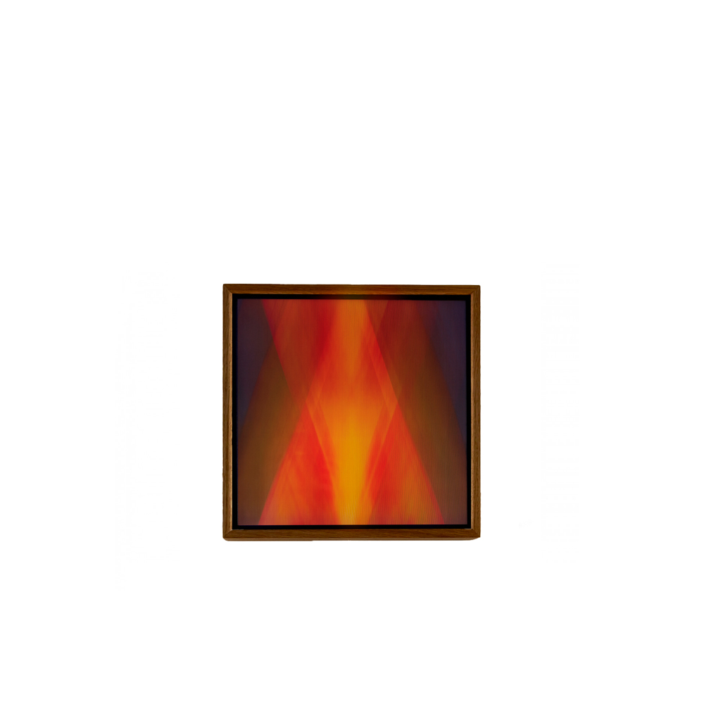 """Fire Of Form Art Installation - Light Fields are light-emitting wall pieces created by Dutch artist/technologist Maria Vera offering a dynamic visual escape into a world of deep colour and ephemeral experience. It is a limited collection consisting of 12 installations.  Fire Of Form, is composed of multiple layers of glass, high-resolution colour prints and LED light. Inspired by the optical illusion called Moire, the artwork moves along with its viewers' eyes, creating a visual effect of gradually changing or """"breathing"""" colour compositions.  All parts are designed to be durable and timeless with eye for detail and sustainably sourced materials. The dimmable LED light and electronics are CE certified and very robust in its design.       Matter of Stuff"""