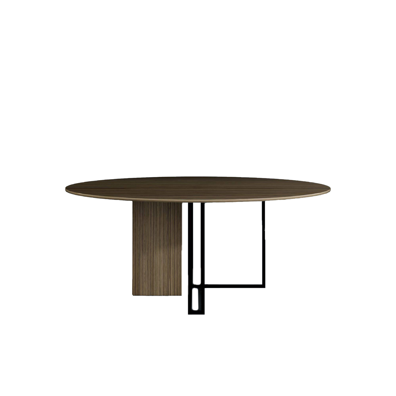Plinto Round Large Dining Table - Dining tables with metal base with plinth. Tops in different models and dimensions. Finishes for metal base - black varnishes - bronzed brass Finishes for plinth - wood veneer - matt or glossy lacquer - marble Finishes for tops - wood veneer - matt or glossy lacquer - marble | Matter of Stuff