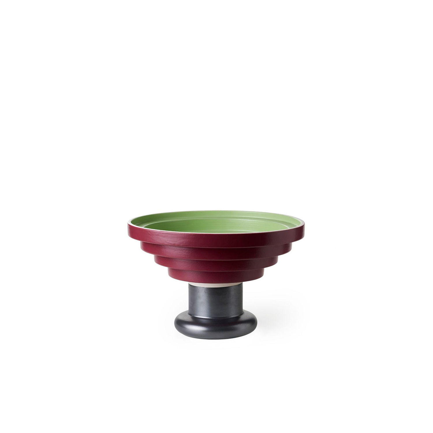 Raised Red Bowl  - Raised bowl with stepped rim. Shape consisting of two elements: the base made by casting and the upper part modelled in white clay. Matt green glaze on the inside, matt red on the outside and base in oxidised copper.