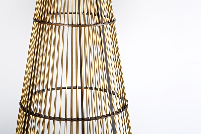 Luce Solida Pendant Lamp - An iron and brass cone forms a sunburst to outline and expand light, defining its consistency, exploring new formal boundaries. Luce Solida is a lightweight lamp, built around a 'shade' made of small metal rods placed side by side, dematerializing its structure into a series of positive and negative spaces. Rigorous in its graphic mark and innovative for the 'elementary' use of materials, Luce Solida directly illuminates space and amplifies its luminosity thanks to its airy diffusor.  230V 50/60 Hz, 1 x max 6W GU 10 LED 3000k    Matter of Stuff
