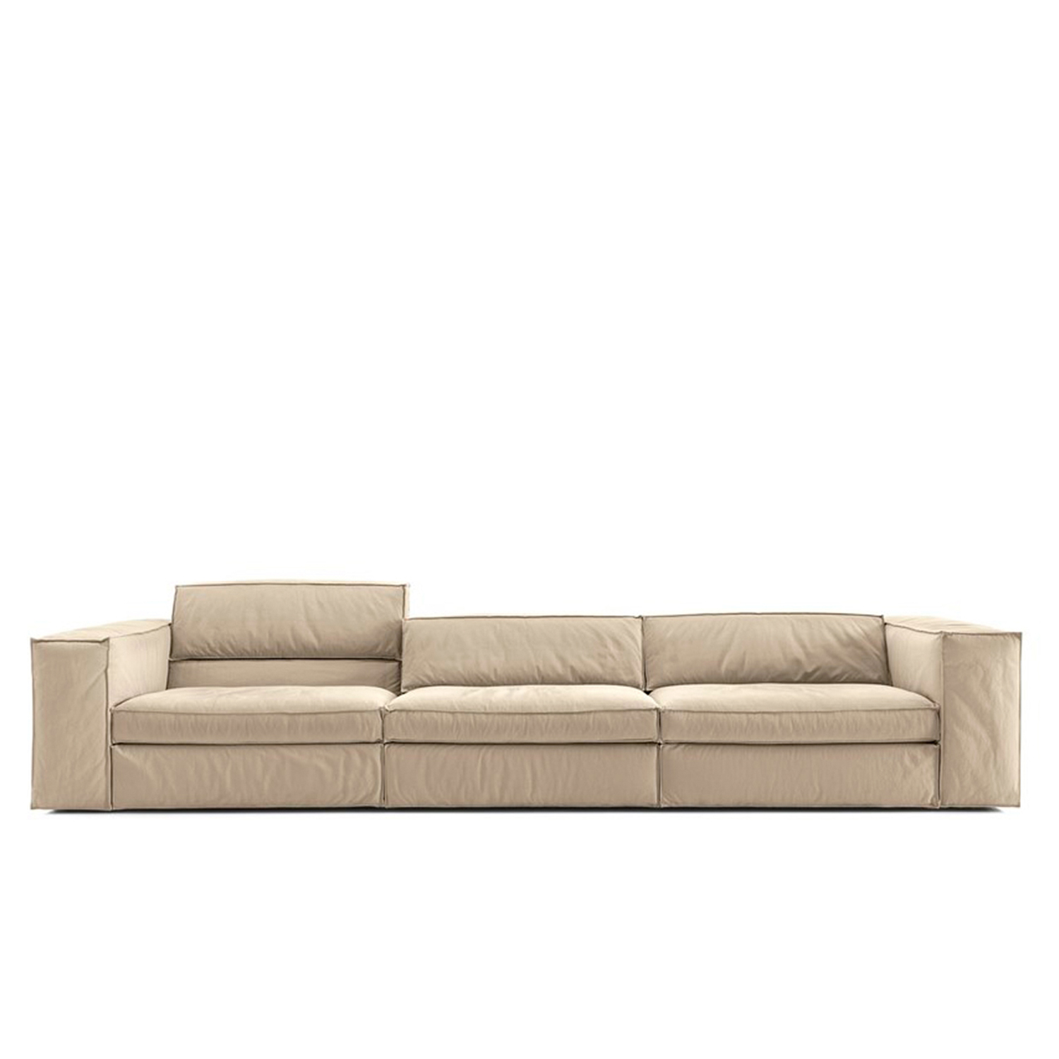 Up Modular Sofa - The Up sofa uses a simple mechanism similar to Lego's snap-on system that allows customers to choose the height of the backrest that best satisfies their comfort requirements. The back cushions can be placed on top of the low backrest to create a deeper seat and an overall higher backrest. The particular shape of the cushions ensures maximum stability. The goose-feather padded cushions and armrests create a particularly soft, snug sofa. Also available with raw-edged leather upholstery.  This item is available in various sizes and combinations. Please enquire for more information and prices.  Materials Structure in solid wood variable-density polyurethane foam coating covered with cotton and polyester fiber 380gr/sqm. The arm padding is completed, on the upper part, by a feather layer. The seat is sprung with elastic straps reinforced with polypropylene. Feet in black PVC 25 mm high. The seat cushions are in washed and sterilized goose down divided into compartments and covered with 100% white cotton fabric with a polyurethane foam core. The black cushions are filled with washed an sterilized goose down divided into compartments and covered | Matter of Stuff
