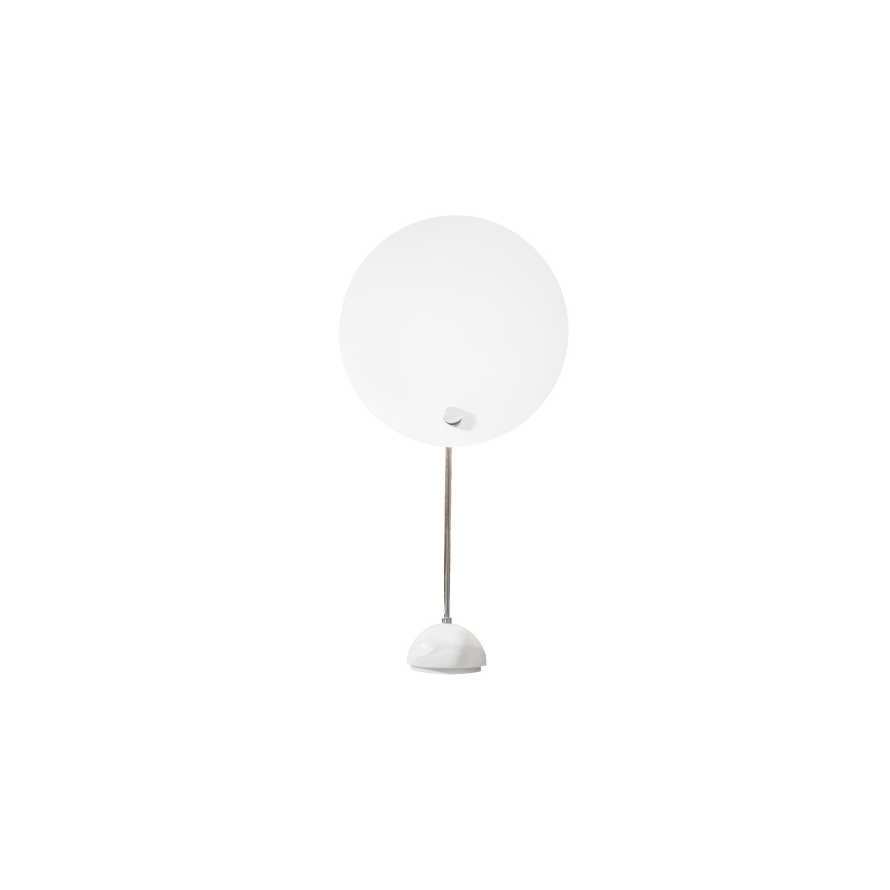 Kuta Table Lamp - Kuta is an indirect light aluminium lamp with a circular reflector in aluminium, which shields the lighting distribution, giving the effect of a solar eclipse. The circular screen is painted in white and black, the stem and the metal small parts and hemispherical support are chromed. Table version with base in white marble. 