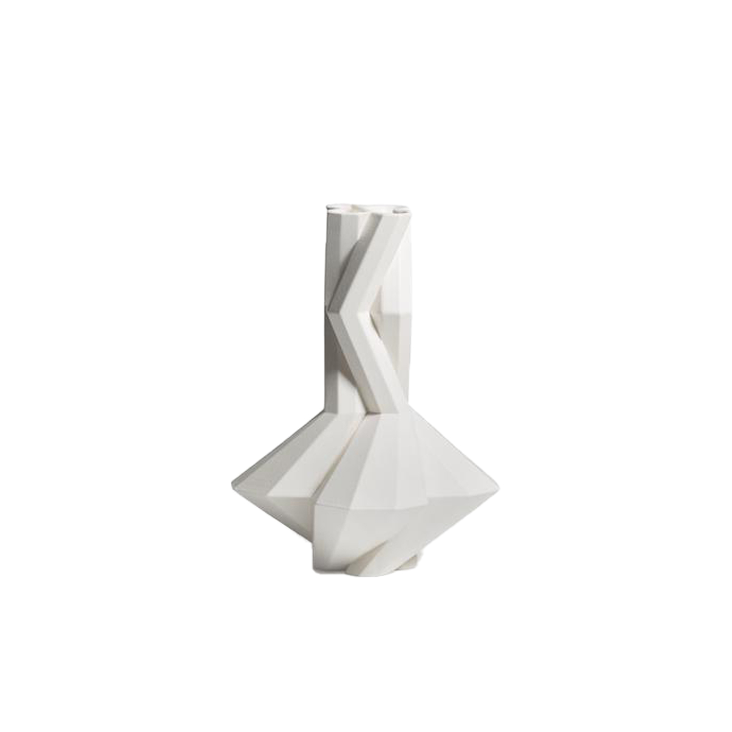 Fortress Cupola White - Designer Lara Bohinc explores the marriage of ancient and futuristic form in the new Fortress Vase range, which has created a more complex geometric and modern structure from the original inspiration of the octagonal towers at the Diocletian Palace in Croatia. The resulting hexagonal blocks interlock and embrace to allow the play of light and shade on the many surfaces and angles. There are four Fortress shapes: the larger Column and Castle (45cm height), the Pillar (30cm height) and the Tower vase (37cm height). These are hand made from ceramic in a small Italian artisanal workshop and come in three finishes: dark gold, bronze and speckled white.  | Matter of Stuff