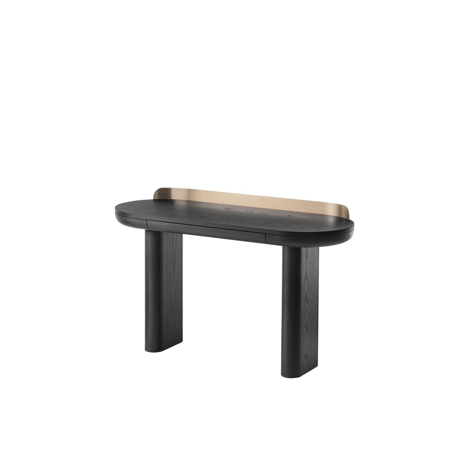 Jumbo Desk - Jumbo is a solid looking writing desk designed to meet the challenges of the home office or limited space of bedrooms. A band of metal embraces the top, embellishing its volume. Jumbo also features a small drawer to please treasure hoarders.  | Matter of Stuff