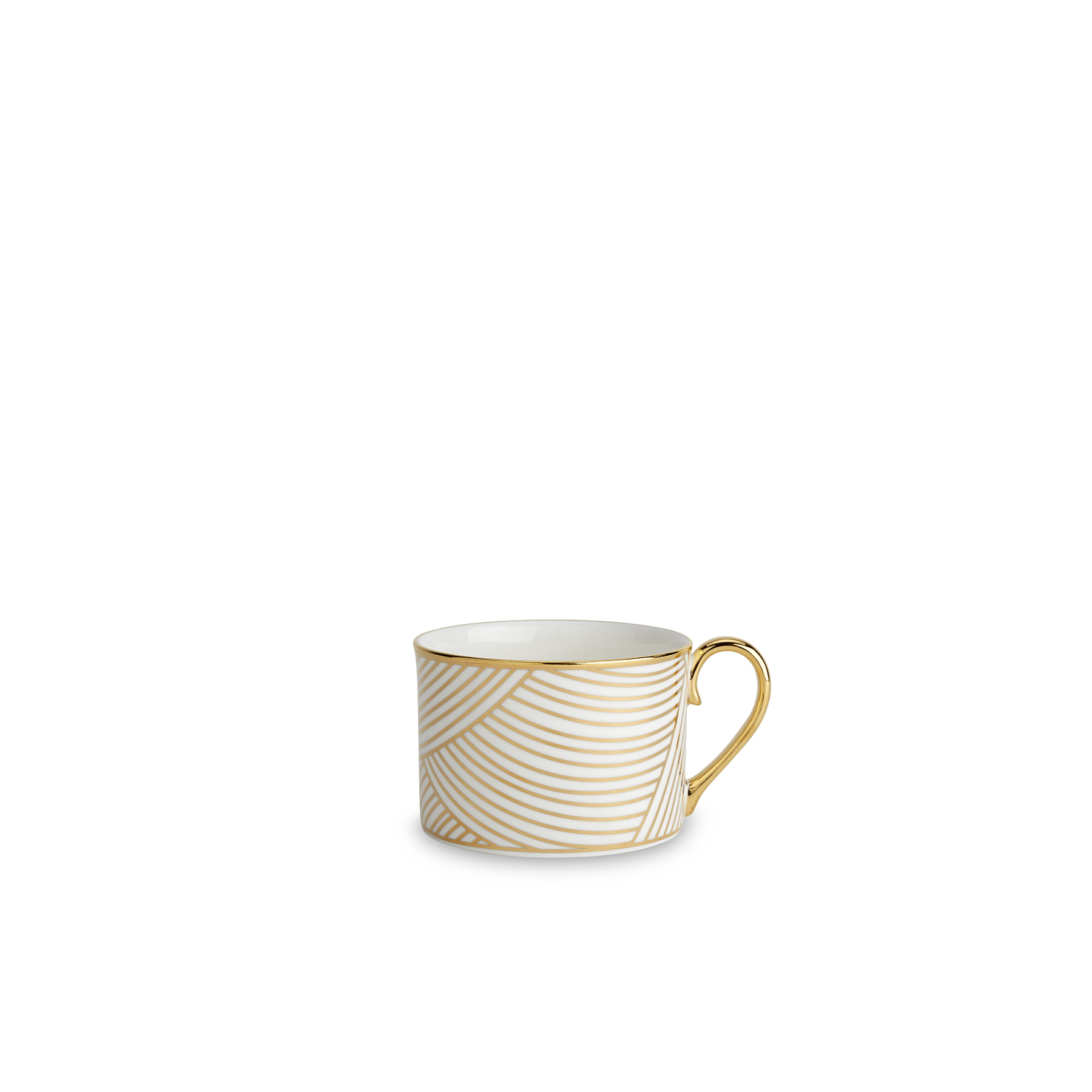 Lustre Coffee Cup Gold - Lustre, conceived by award-winning designer Bethan Gray uses a fine bone china body paired with 22-carat gold and black decals, and finished with hand gilded details. The collection features a reinterpretation of Bethan's hand-drawn Dhow pattern originally inspired by the billowing sails of Oman's distinctive sailing boats. Possible only by hand, the pattern is meticulously applied in three separate pieces in a pattern that is complex with its curvatures. The decals of 22-carat gold and black are fired, hand finished with 22-carat gold and finally fired for a second time. Hand wash only.  | Matter of Stuff
