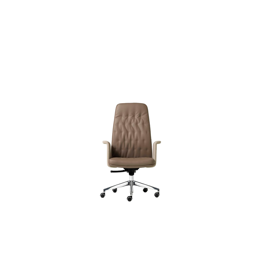 Artù High Backrest Executive Chair - ARTÙ is the ideal chair for work environments requiring elegance and formality. Its details and finishes are top quality, the stylish quilting integrates with richly refined lines, creating an aesthetically appealing and technologically advanced whole. The knee-tilt mechanism allows the backrest to tilt and also lock in different positions. Ergonomics are guaranteed by tension regulation based on body weight.   The chair is with beech ply shell and polyurethane foam. With gaslift; or with a knee-tilt mechanism which allows the back to be locked in different positions, weight adjustment, anti-shock system. 5-spur polished aluminium base on self-braking rubber castors. Fixed upholstered arms.   For upholstery options please refer to Cat. F, Cat. G, Cat. S, Cat. Top, Cat. Extra, Fiesta, Nuvola in the catalogue.  | Matter of Stuff