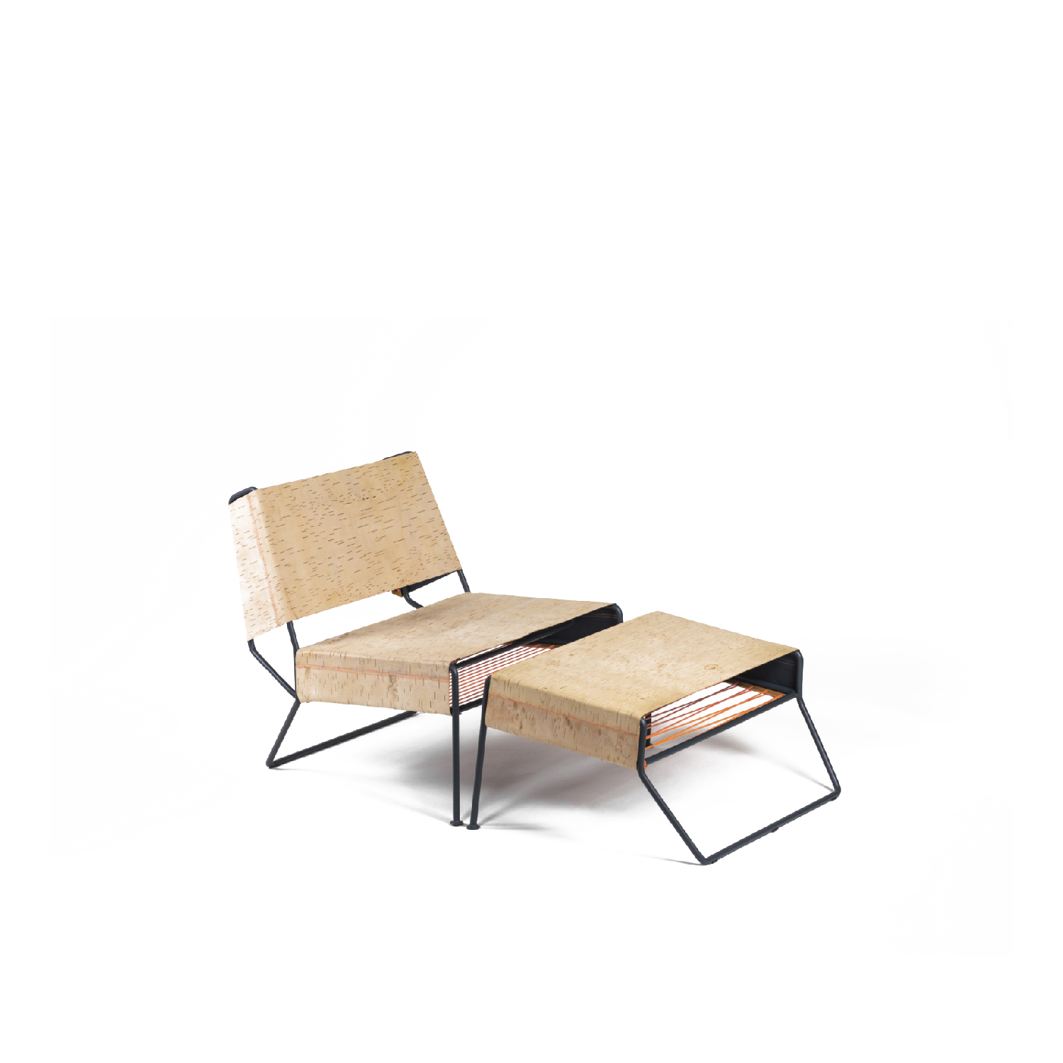 Sibirjak Lounge Chair with Ottoman - Sibirjak is a contemporary lounge chair made from birch bark. This fascinating natural material is not only flexible, soft, waterrepellent, and antibacterial, but also breathable, durable, and strong. Despite these unique characteristics, as a material for everyday objects, it is gradually being forgotten. In response, Sibirjak answers the question of how to revive an ancient tradition while reinterpreting a conventional handicraft with contemporary techniques.  The chair and ottoman combination emphasizes the material's aesthetics, combining traditional skills with modern processing. The horizontal alignment of the bark underlines the leatherlike properties of the material, is welcoming, and offers a wide comfortable seat. The textile details and reduced geometric frame form a strong contrast to the natural birch bark.  The use of birch bark in Sibirjak is in strong contrast to the material's usual folkloric associations, while at the same time reinvigorating traditional handicraft by demonstrating new design possibilities in a contemporary context.  Chair 70 x 45 x 36/70 cm Ottoman 70 x 40 x 36 cm Birch bark, powder-coated steel, thread  Delivery time: made to order | Matter of Stuff