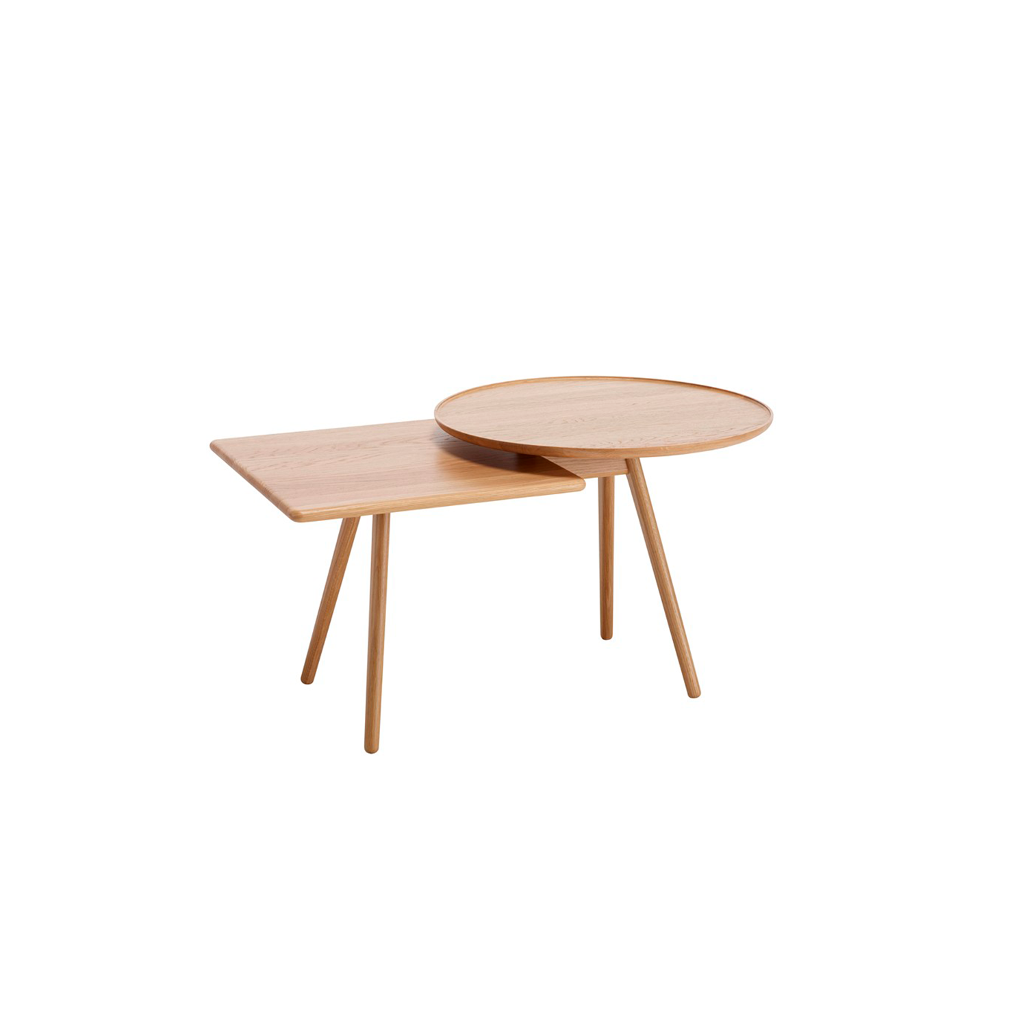 Mopsy Table - Mopsy (2016) is a sofa table with round and square-shaped tops at different heights in an overlapped combination on the same leg frame. A number of Mopsy tables can be grouped together in the same type of wood or colour, or in a combination of different types of wood and colours. The tabletops and leg frames are made from solid wood. Choose from oak, birch, ash, standard stains on ash, white glazed oak or ash and standard colors.  For standard colors the tabletop is made in MDF. Use Mopsy to furnish lobbies, all kinds of meeting places or next to your sofa at home.  Different top and leg finishes are available at an extra cost. Please enquire for more details. | Matter of Stuff