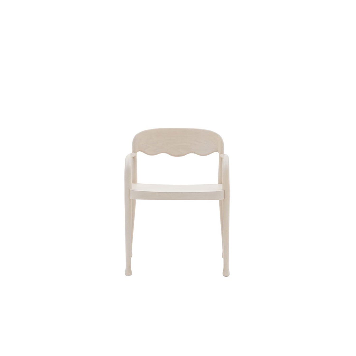 Frisee Armchair - The Frisee Armchair is an ergonomic and sleek armchair that fits in almost anywhere. As is noticeable in the Frisée collection it has the wavy backrest and the slightly slanted legs with felt pads. This armchair comes in either Ashwood or Beechwood and can be lacquered. Please enquire for more information.  | Matter of Stuff
