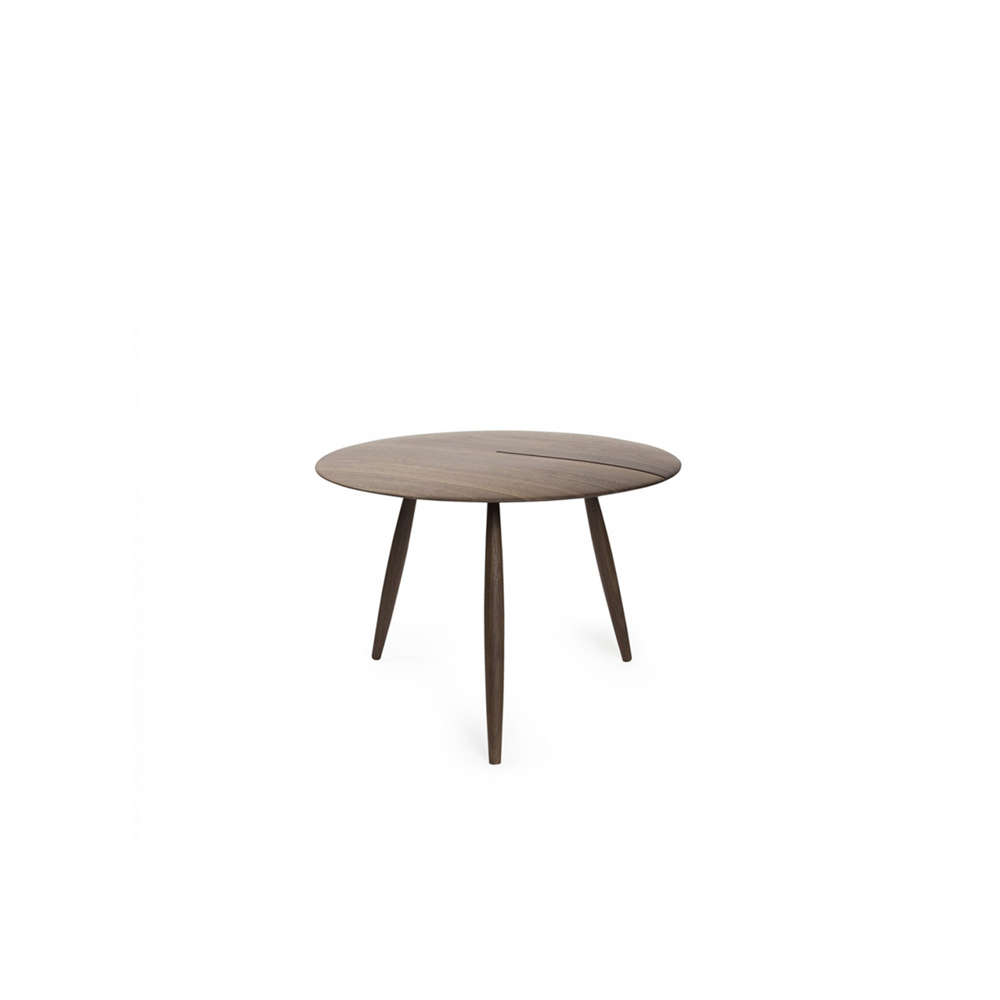 """Orio Side Table - Small solid wood tables. Orio is the result of a painstaking process that allows both the legs and the round tops to be produced on a lathe. The """"incision"""" in the top is a functional innovation, making it possible to conceal the wire of a lamp or a phone charger, while revealing the material essence of the selected wood – solid walnut or lacquered ash.  