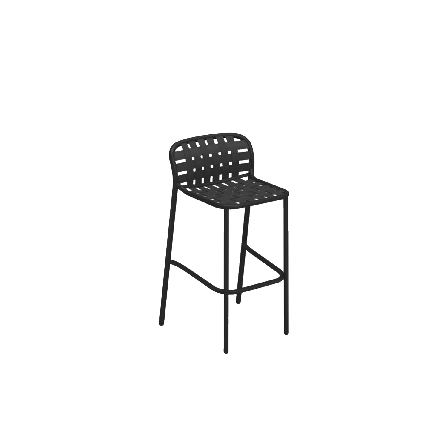 Yard Barstool - Set of 2 - The weave elastic straps, fastened to the sophisticated aluminium frame in an innovative way give life to a collection defined by outstanding, eclectic style and superb comfort, perfectly suitable for outdoor uses.Yard is a complete range of furniture, made up of a chair, armchair, stool, fixed and extensible tables, foldable tables, lounge armchairs, coffee tables of various sizes, sofa and sunbed.  | Matter of Stuff