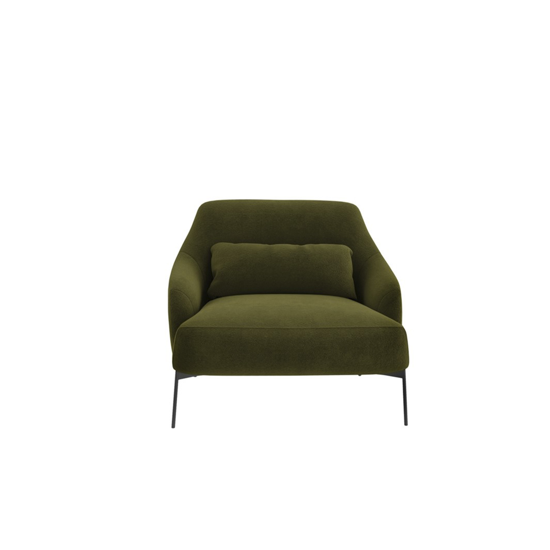 Lima Lounge Armchair - A system consisting of sofas and armchairs in different sizes, with a markedly sleek shape to receive the body nicely.‎ Extra comfort is given by the large lumbar supporting cushion on the ample seat.‎ Elegantly thin are the feet at the base of the frame, adding a touch of dynamism to the cosiness.‎