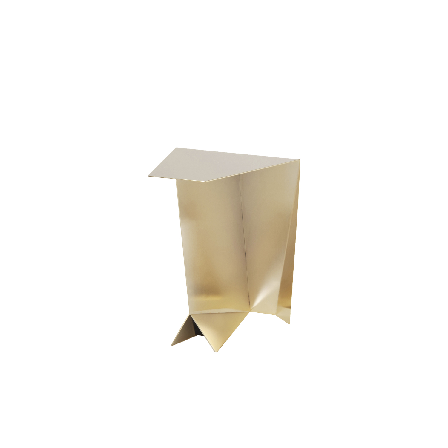 Perseus Side Table - Gold Limited Edition - The Perseus side table is shaped by 3 mm thick steel plates to increase strength and stability. It's the ideal complement for the set up of the living area, thanks to the precious finish by hand in satin-finish gold. The Gold edition is limited to 33 pieces, signed and silkscreened.  | Matter of Stuff