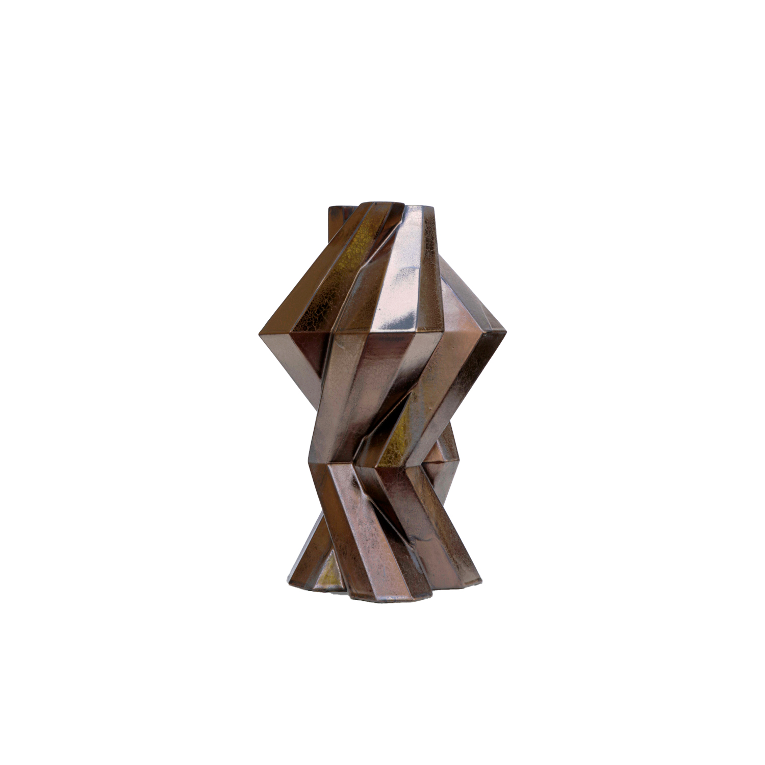 Fortress Column Vase Bronze - Designer Lara Bohinc explores the marriage of ancient and futuristic form in the new Fortress Vase range, which has created a more complex geometric and modern structure from the original inspiration of the octagonal towers at the Diocletian Palace in Croatia. The resulting hexagonal blocks interlock and embrace to allow the play of light and shade on the many surfaces and angles. There are four Fortress shapes: the larger Column and Castle (45cm height), the Pillar (30cm height) and the Tower vase (37cm height). These are hand made from ceramic in a small Italian artisanal workshop and come in three finishes: dark gold, bronze and speckled white.  | Matter of Stuff