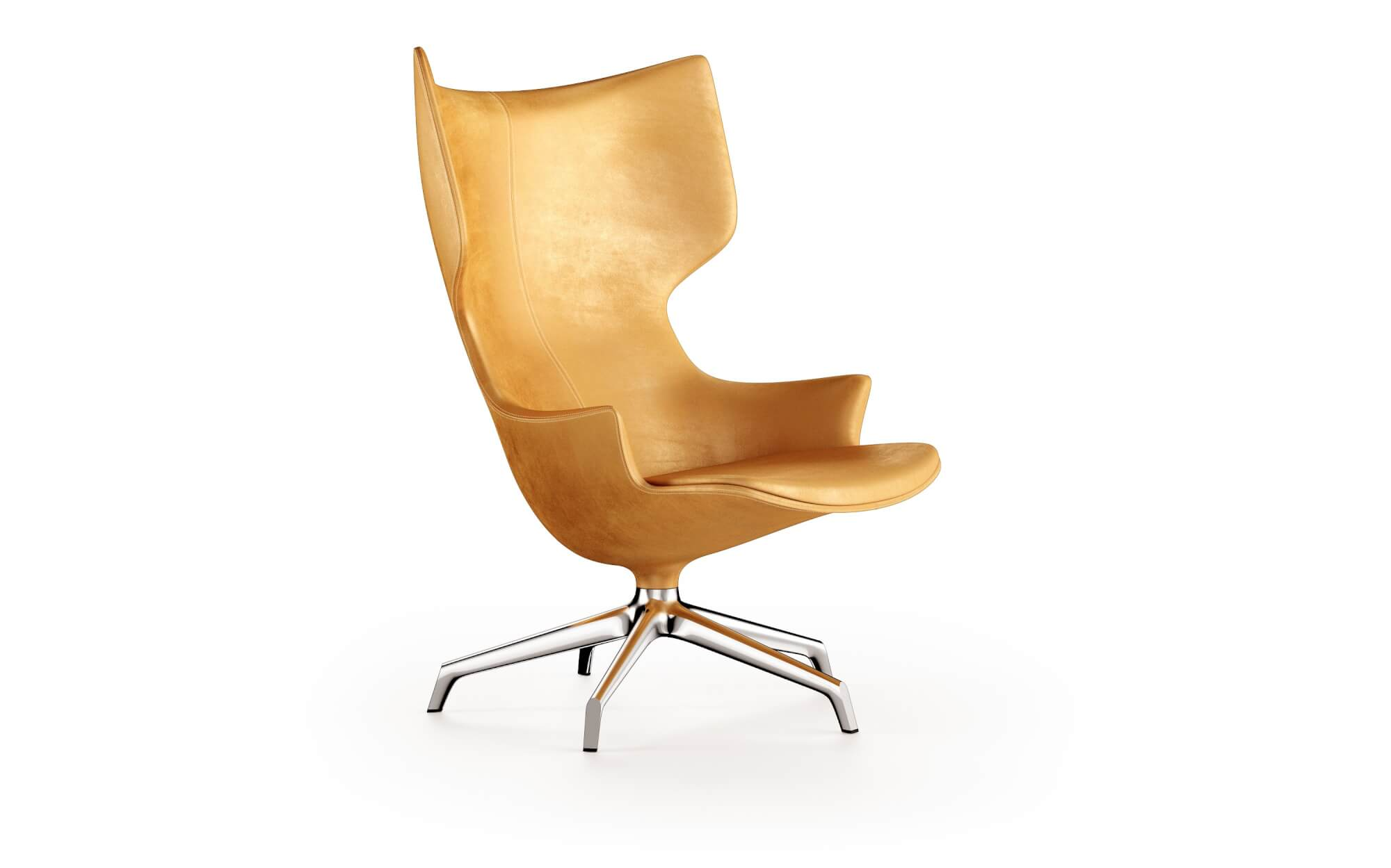 "Lou Speak Swivel Armchair - ""When you sit on a Lou Speak you are obliged to raise your level of conversation. If you don't, your chair will look more elegant than you do."" Philippe Starck. The Lou Speak is an addition to the Lou family. Upholstered seat on metal base. This comfortable, cocooning, swivel chair has just shown up after Lou Read, Lou Think and Lou Eat. 