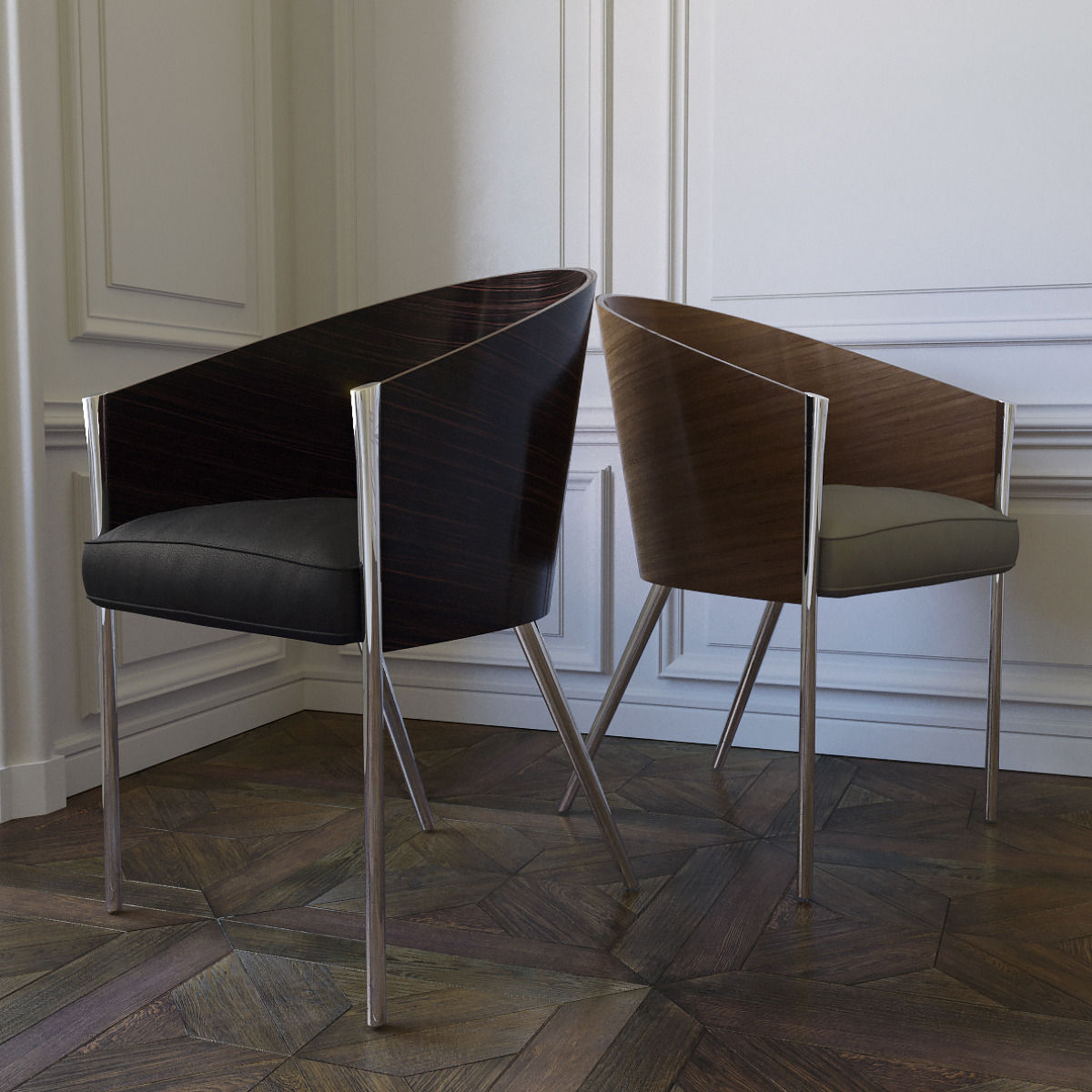 Costes Armchair - There are objects universally recognized as icons. Costes easy chair that, in 1984, marked the beginning of the partnership between Philippe Starck and Driade such as the consecration of the designer, formerly unknown in Italy, is one of these objects. Designed for the homonymous, now disappeared, Parisian café, owes its timeless success to the absoluteness of forms: a dark wooden embracing structure with three highly tilted legs. | Matter of Stuff