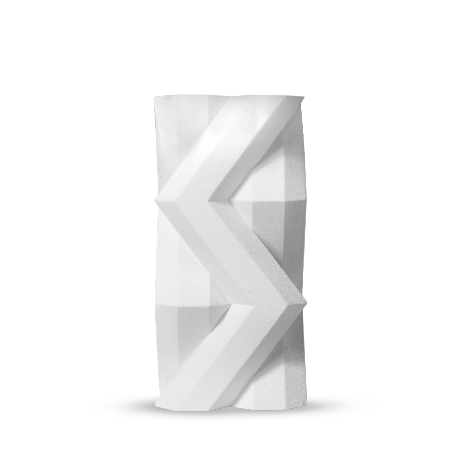 Fortress Tower Vase Crackled White - <p>Designer Lara Bohinc explores the marriage of ancient and futuristic form in the new Fortress Vase range, which has created a more complex geometric and modern structure from the original inspiration of the octagonal towers at the Diocletian Palace in Croatia. The resulting hexagonal blocks interlock and embrace to allow the play of light and shade on the many surfaces and angles. There are four Fortress shapes: the larger Column and Castle (45cm height), the Pillar (30cm height) and the Tower vase (37cm height). These are hand made from ceramic in a small Italian artisanal workshop and come in three finishes: dark gold, bronze and speckled white.</p>  | Matter of Stuff