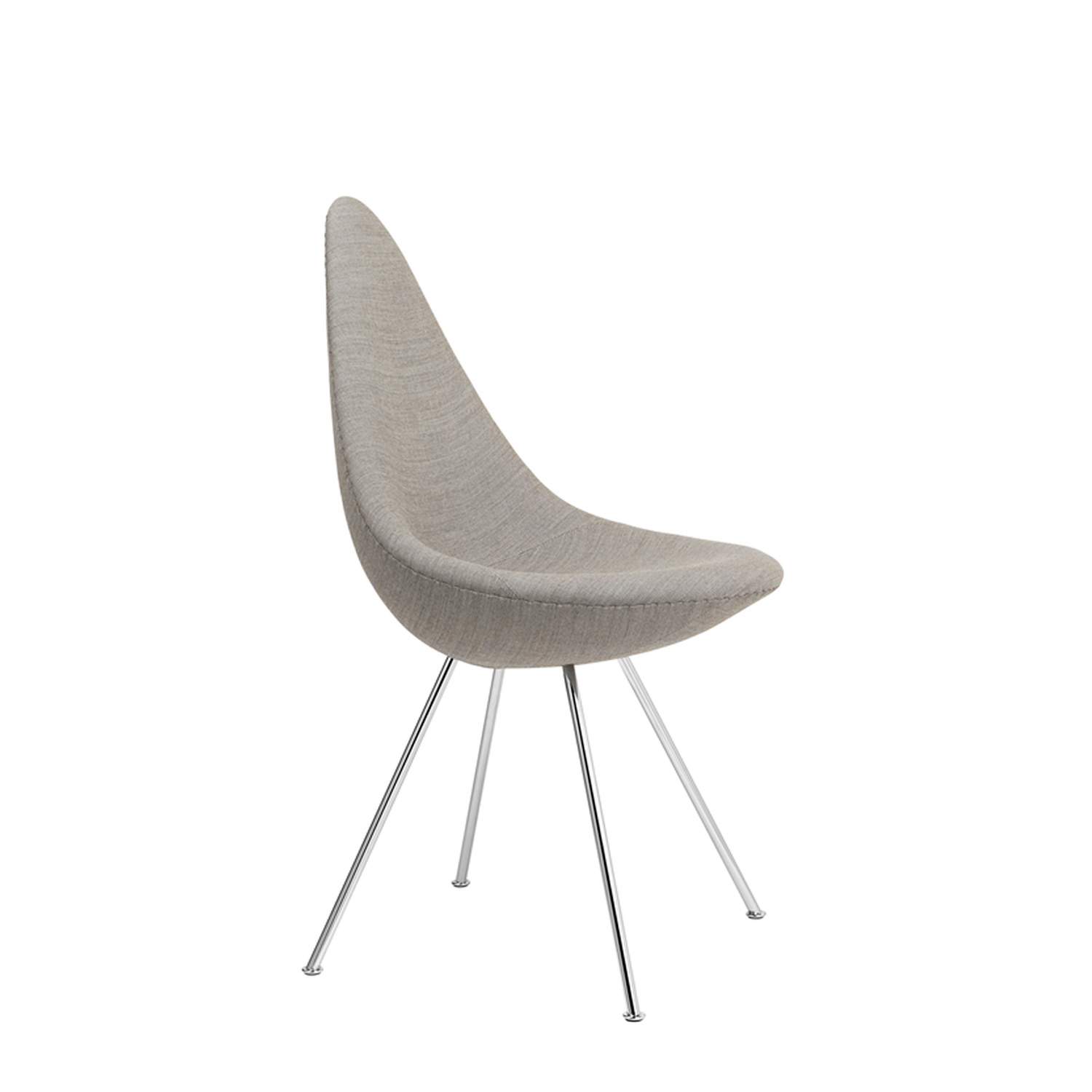 Drop Chair Upholstered - <p>The Drop is a small chair with a big personality and it is as fresh and vibrant as a new design but with a rare heritage. </p> <p>The curvy chair, designed by Arne Jacobsen, was Jacobsen's own favourite piece.<br /> The design of the back combines a warm embrace with freedom of movement, resulting in a surprising level of comfort. It blends elegantly into a wide variety of settings as a great example of furniture design that is able to influence and elevate an entire room by its mere presence and beauty. </p> <p>The Drop chair is fully upholstered with cold cured foam and covered in a wide range of fabrics and leather types with a 4 legs base in chrome or powder coated steel.</p> <p>A range of materials and colours are available in a number of combinations. Prices may vary.<br /> Please enquire for full details.</p>  | Matter of Stuff