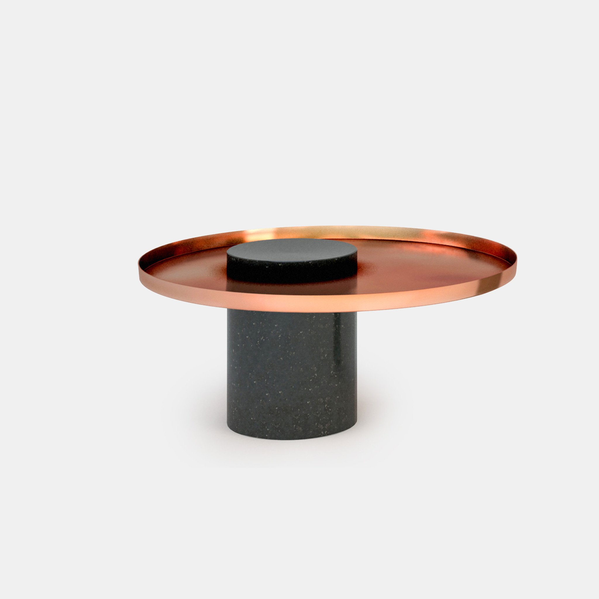 Low Salute Coffee Table - <p>Salute is a family of tables.<br /> Each element can be used alone (coffee table, occasional table) or combined together to play with different heights and formats as well as combinations of materials. The strong presence of the marble column is lightened by the suspended shape of the metal tray.</p>  | Matter of Stuff