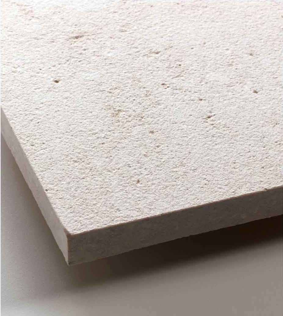 Grolla Beige Sandblasted - Grolla hard limestone, the company's flagship product, is a versatile and resistant material because it lends itself to all types of processing.  What distinguishes this stone from the others are its extraordinary certified technical-mechanical characteristics, such as low water absorption, resistance to abrasion, salt, pollution and frost.  Thanks to these peculiarities, Grolla is suitable to the realisation of outdoor projects (ventilated and glued facades, floors, swimming pools) and interiors (wall coverings, floors, bathrooms, kitchens, objects and furnishing elements such as sinks, shower trays, tubs, tables and much more).  The colors of the Grolla range from beige to intense pink shades, passing through grey.  The remarkable technical characteristics, combined with the aesthetic qualities of this stone, adapt to suited to styles, architectural contexts and design from classic to contemporary, perfectly matching with wood, glass, steel and other materials.  Interiors and exteriors, classicism and contemporaneity: for Grolla, every solution is possible. | Matter of Stuff
