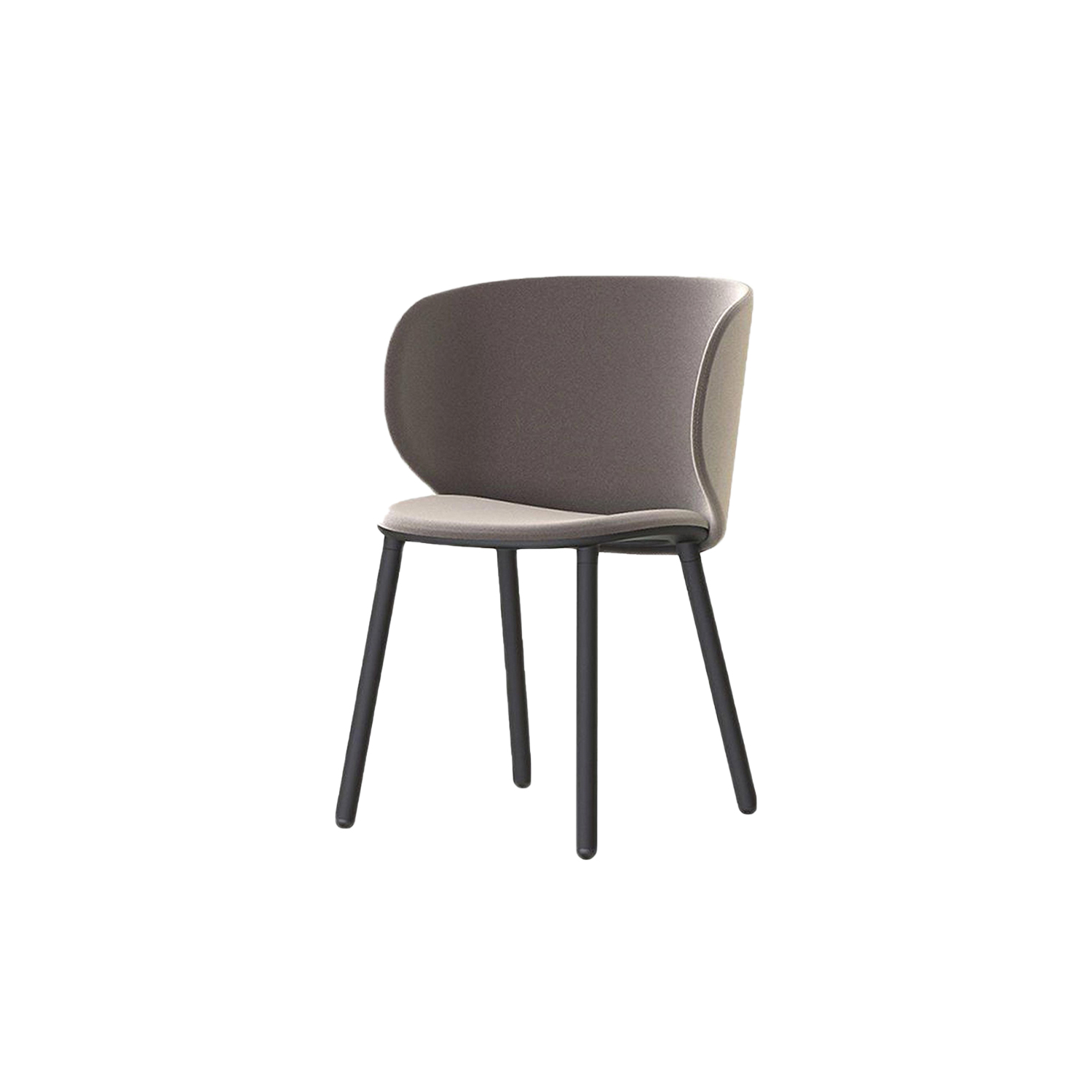 Dua Large Chair with Four Legs - The Berlin-based studio Läufer & Keichel has created a chair for Kristalia with soft, embracing lines. The name recalls the number two, which recurs throughout the design project starting with the two elliptical surfaces of the seat and backrest, which sensually revolves around the seat. Available with a slide-frame base or with four solid wood legs, the chair and armchair can be upholstered with the fabrics and leather in the catalogue, with the option of different upholstery for the seat and backrest to create contrasting or matching combinations. A range of materials, colours and finishes are available in a number of combinations. Prices may vary. Please enquire for full details. | Matter of Stuff