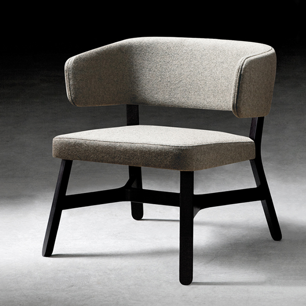 Croissant Lounge Chair - <p>Lounge chair, sofa, bench and pouffe with frame in stained or lacquered beechwood, upholstered. Bench available with total or partial cushion for resting bags and computers.A crucial thought. A refined sense of belonging unites the entire Croissant collection, a recurring design, the crosspiece which distinguishes all the seating, as well as the tables. From the dining table to lounge areas, from restaurant bars and lobbies to privating dining: a complete collection. Chair, armchair, lounge chair, stools, sofa, pouffe and benches in stained or lacquered beechwood, with upholstered seat and back. Tables with frame in stained or lacquered beechwood and top in lacquered or laminated mdf or compact laminate.</p>    Matter of Stuff