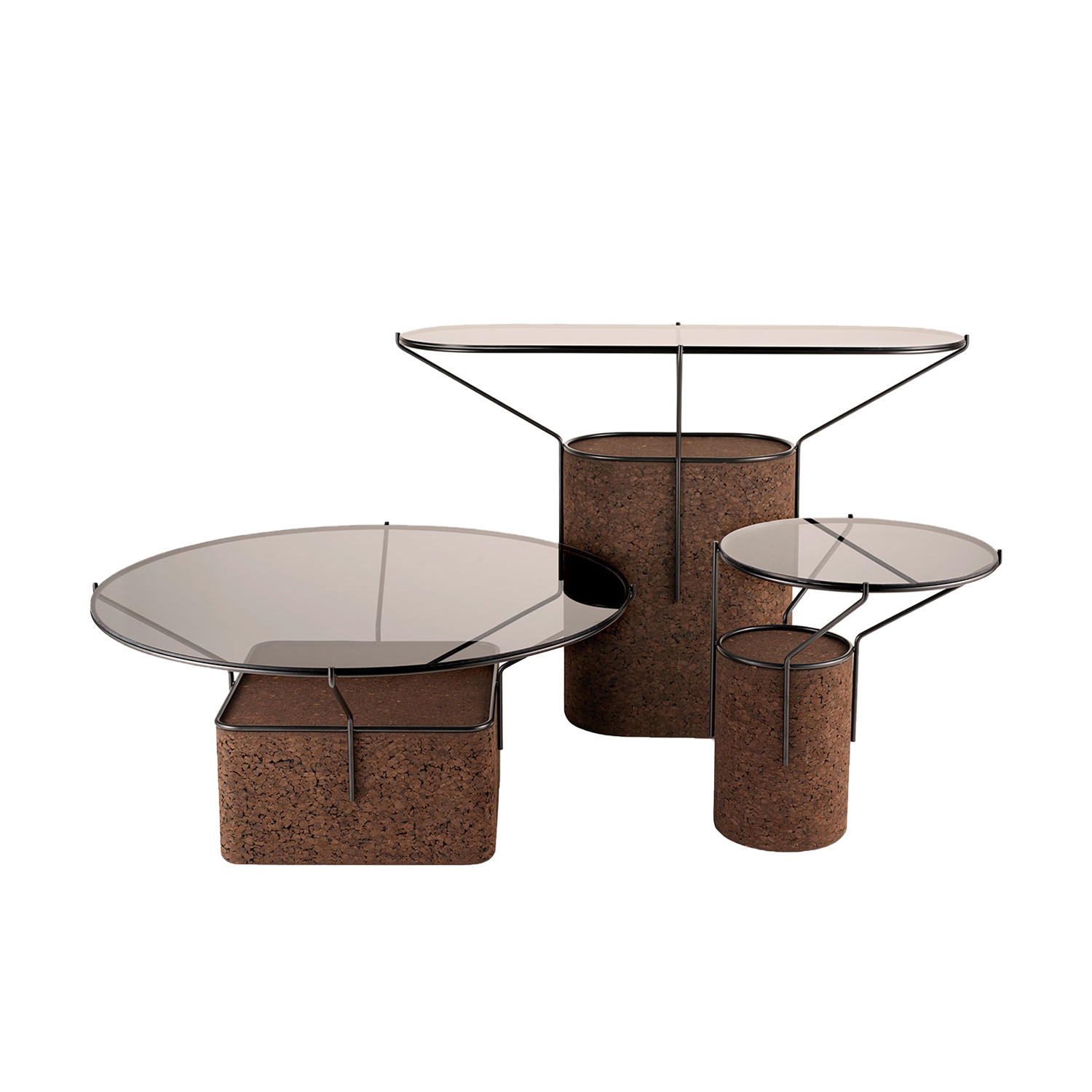"""Frame Side Table - It is only used cork of the branches (falca) for the manufacture of cork granules. These are block clusters in autoclave, being 100% natural process, without use of additives. Technology, developed by Sofalca, consists of injecting water vapour through the pallets that will expand and agglutinate with the resins of the cork itself. This """"cooking"""" gives also dark colour to the agglomerated cork, like chocolate. In the production of steam I used biomass, obtained on milling and cleaning the falca, what makes it truly ecological production and without waste, 95% energy self-sufficient. As a super-material, cork offers so many advantages, because in addition to its excellent thermic, acoustic insulation and anti vibration characteristic, it is also a CO2 sink playing a key-role in the environment.   Matter of Stuff"""