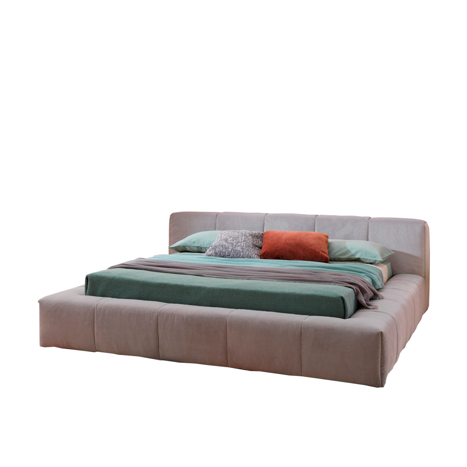Pixel Box Large Bed - Pixel Box Large is the most voluminous option in the Pixel bed collection, completely enclosed by the soft and ample bed frame. Pixel Box Large most evidently recalls the iconic and generous rounded shapes of Saba's Pixel sofa.  This item is available in different sizes, upholstery and base options. Please enquire for more information and prices.  Materials Headboard in multilayer wood padded with polyurethane foam and clothed with velfodera coupled to resin 100gr/sqm. The covering fabric is coupled with polyester fiber 380gr/sqm. Air version includes the bed base with wooden slats and the bed frame is in wood covered with velfodera coupled to polyurethane foam. Box version has got bed frame in multilayer wood padded with polyurethane foam and clothed with velfodera coupled to resin 100gr/sqm. Feet in metal bronze painted with brass terminal or white painted with black nickel terminal for Air version. In wood black painted h 4 cm for Box version. | Matter of Stuff