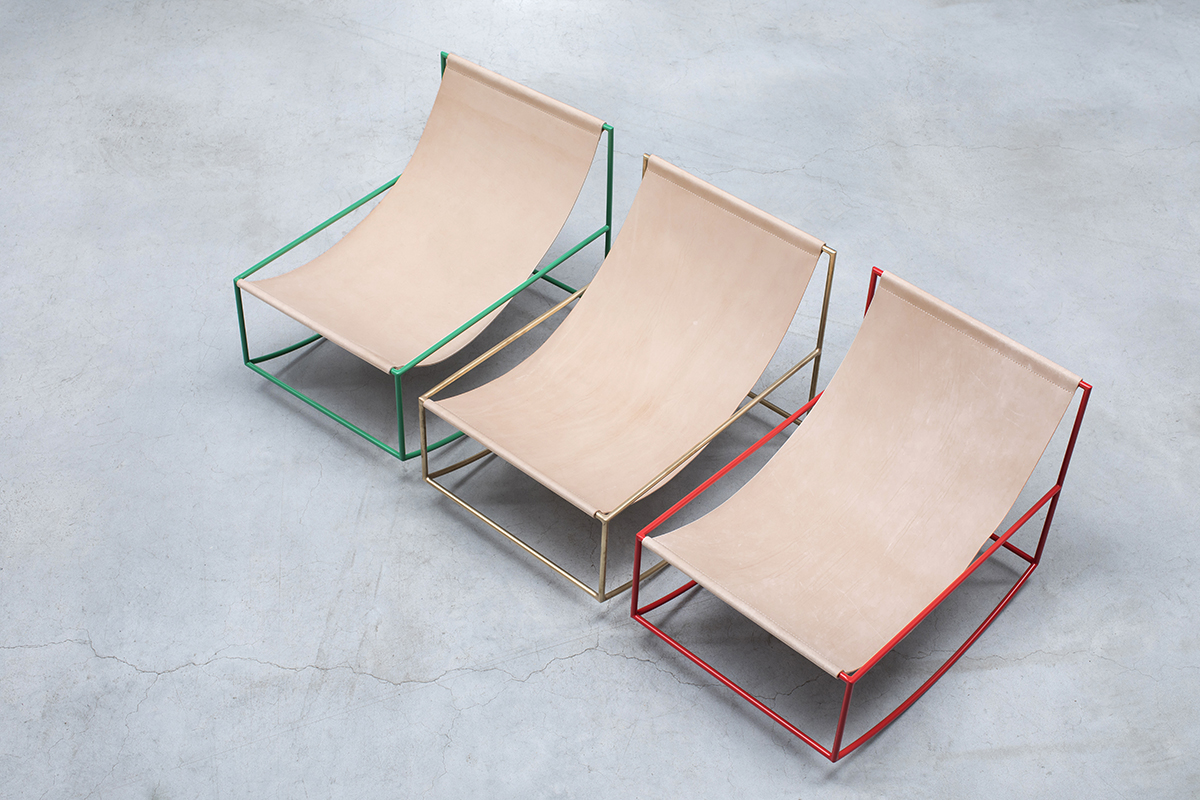 Leather Rocking Chair - <p>Under small pressure of the solo show, Fien and Hannes made their iconic seats with a leather cloth spanned between two horizontal bars. After that, they designed the rocking chair which is constructed by the same principal. Just as with all Muller Van Severen's designs, transparency is key. And so it swings through the space of the interior without ever covering the background.</p>    Matter of Stuff