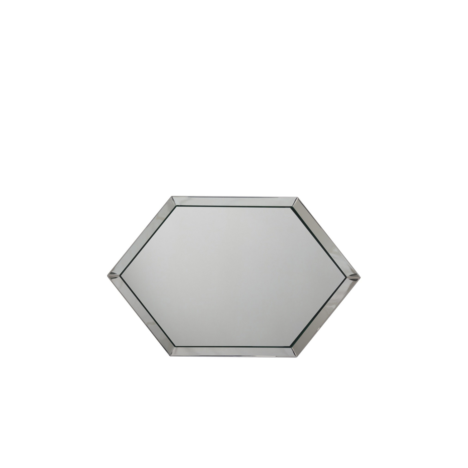 Hexagonal Mirror Tray - This unique design object combines the shine of silver with the magical effect of the mirror.