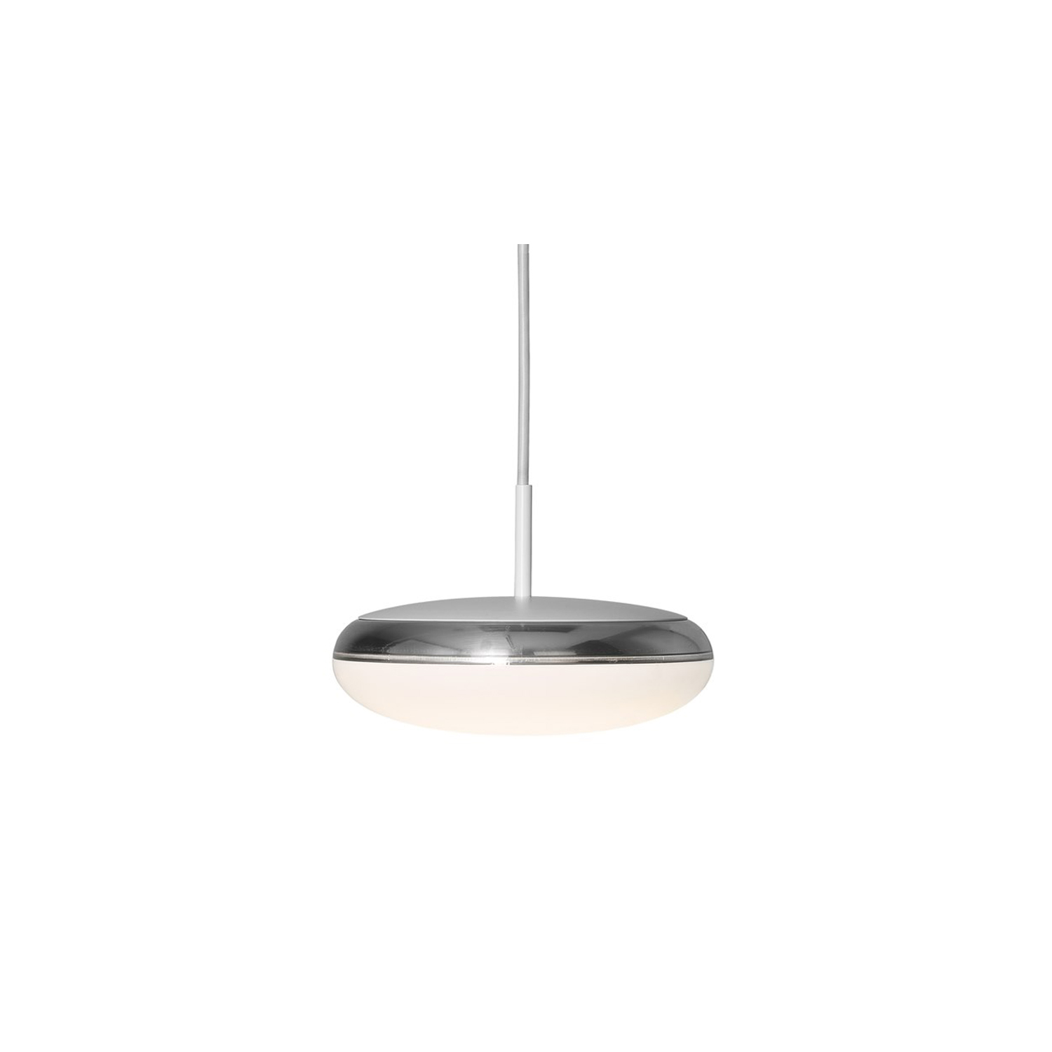 Silverback Pendant Light - The fixture emits diffused light. The curved opal diffuser provides soft, pleasant, primarily downward directed room lighting. The metallised semitransparent rear side of the diffuser produces a halo effect and reflects light from the surroundings. The rounded white top completes the curve from the diffuser. The luminaire is suspended simple and elegant from its cord. A white pendant tube in the top of the housing ensures stability and balance in the luminaire. | Matter of Stuff