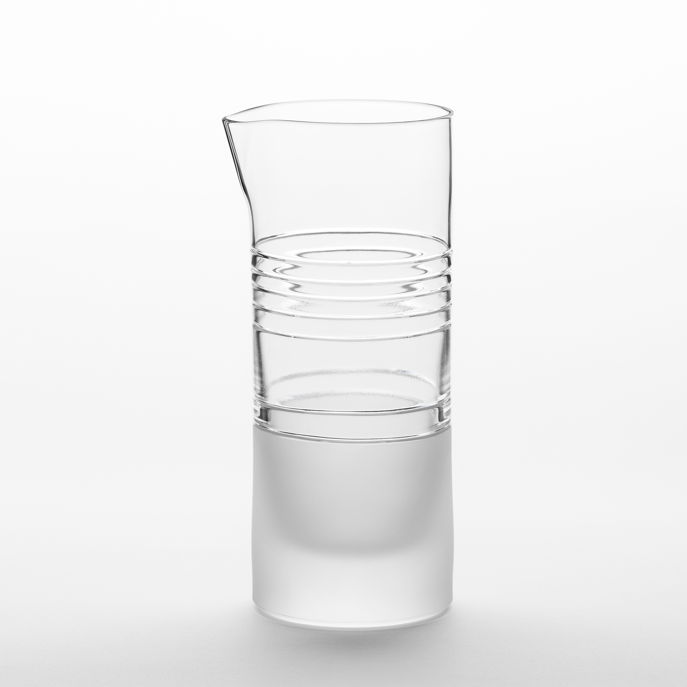 "Element Jug - A rich assemblage of graphic markings defines the ""ELEMENTS"" series of lead crystal. Cuts and textures of varying depth and intensity are employed across glasses to create a landscape of layered pattern that is fresh and seductive; a whole new take on the decoration of cut crystal.