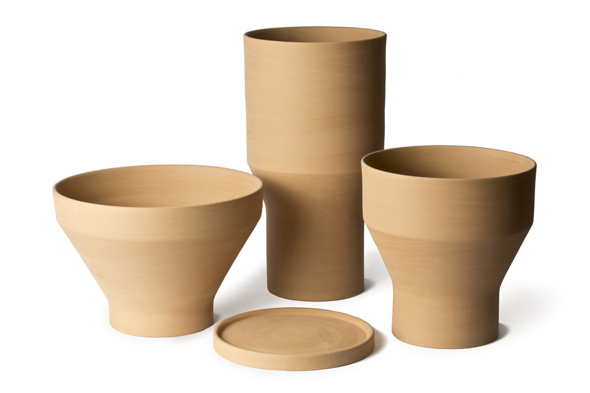 Erba Garden Pot - <p>Erba, Mira and Pila are based on archetypal forms of traditional garden pots that are part of our collective memory. Their clean lines and geometric play of intersecting conical and cylindrical volumes reinvent the typology itself. Designed to be perfectly stackable, they come with a standard flowerpot saucer, the same for all three sizes.</p>  | Matter of Stuff