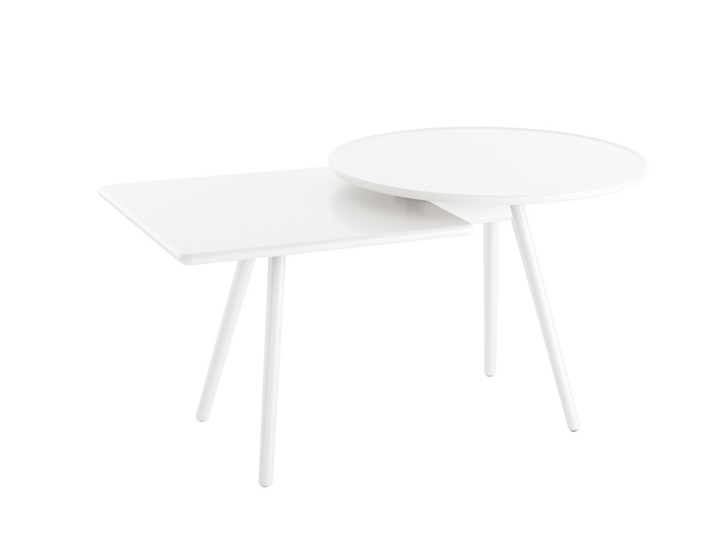 Mopsy Table - Mopsy (2016) is a sofa table with round and square-shaped tops at different heights in an overlapped combination on the same leg frame. A number of Mopsy tables can be grouped together in the same type of wood or colour, or in a combination of different types of wood and colours. The tabletops and leg frames are made from solid wood. Choose from oak, birch, ash, standard stains on ash, white glazed oak or ash and standard colors.  For standard colors the tabletop is made in MDF. Use Mopsy to furnish lobbies, all kinds of meeting places or next to your sofa at home.  Different top and leg finishes are available at an extra cost. Please enquire for more details.   Matter of Stuff