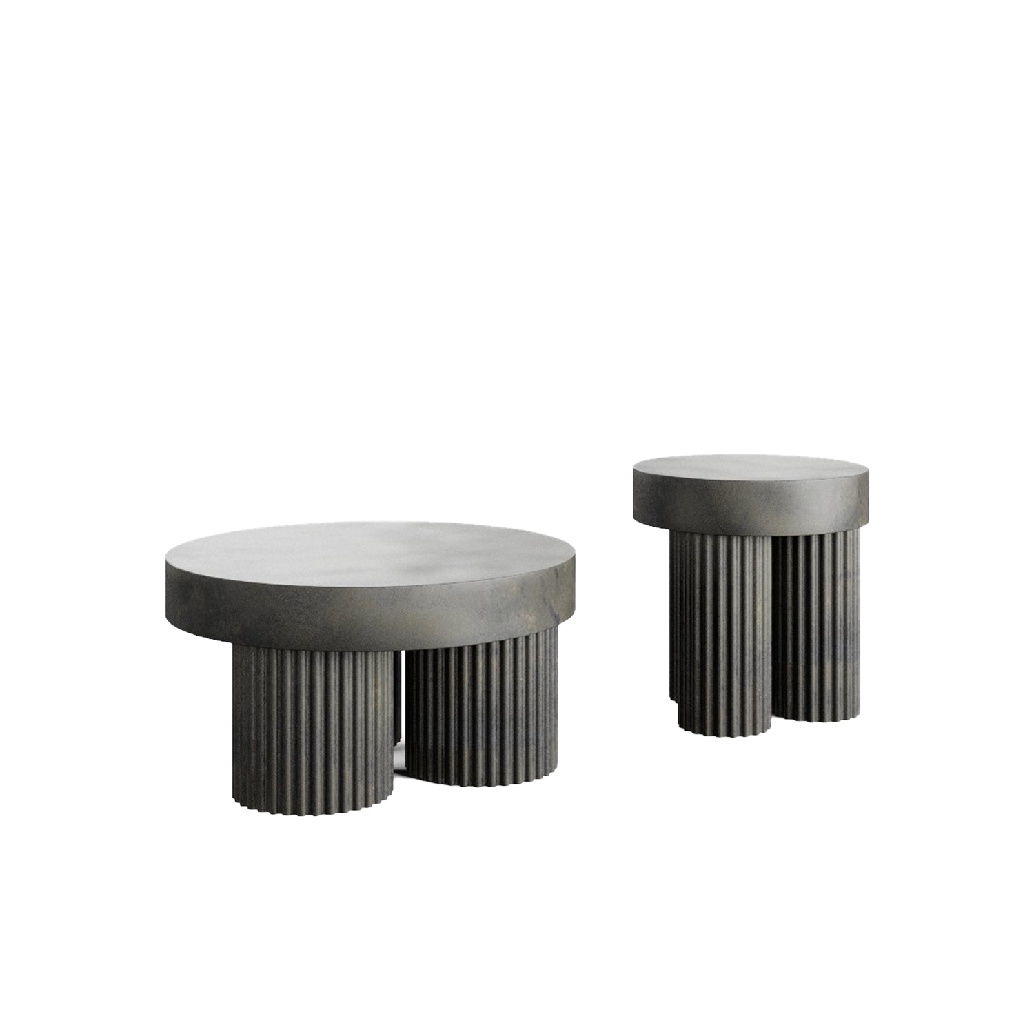 Gear Coffee Table  - Gear is inspired by Brutalism Architecture from the mid-20th century.    The sculptural coffee tables are designed as block-like structures, reflecting architectural building components of concrete. The Gear Tables comes with a circular table top, resting on top of three cylinder shaped legs. The legs are characterised by a riffled detail, adding a refined and organic signature to the architectural design.   The Gear coffee table is cast in lightweight fiber concrete, which creates a unique surface texture and increases mobility. Each piece is hand painted with multiple layers of paint, creating a unique and textured surface.  | Matter of Stuff