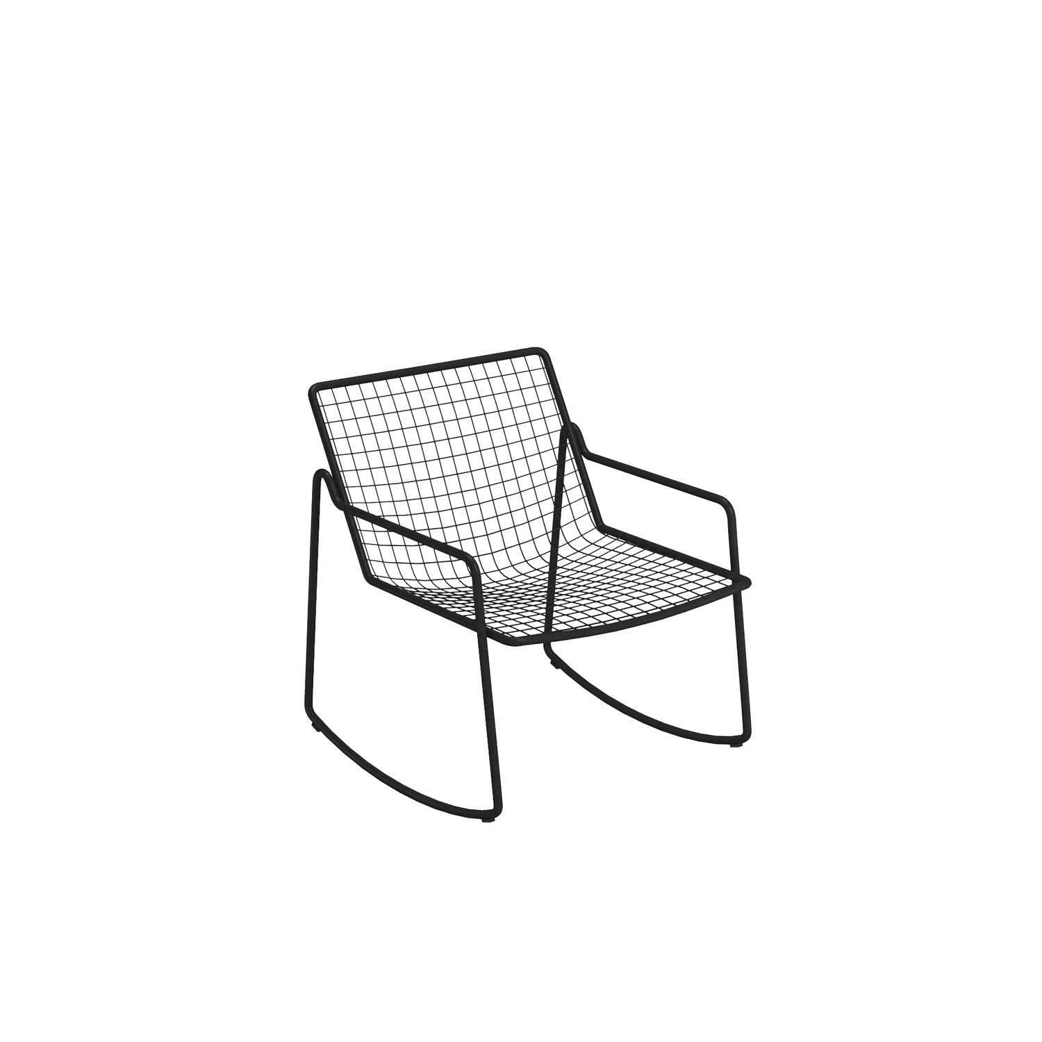 Rio R50 Swing Lounge Chair - RIO R50 is an expertly crafted re-edition of the historic model Rio of the 70s. RIO R50 has a frame in ASFORM steel tube, high-quality steel with high mechanical performance and high resistance to weight.  The manufacturing process creates a strongly characterized sign, a letter R, which is identified in the junction between seat and backrest. All structural weldings are made with Mig technology which gives great resistance to stress and rust risk; meanwhile the net, composed by steel wires, is electro-welded to the frame for a more precise aesthetics.  Like all EMU products, a cataphoresis pretreatment is provided and then a thermosetting powder coating treatment, which finally produces a layer of homogeneous paint in terms of thickness with a high level of adherence and resistance. Nylon feet supports make it easy to move and protect the product. RIO R50 is a complete seats collection composed by dining chair and armchair, lounge armchair, swing armchair, stool and coffee table.  | Matter of Stuff