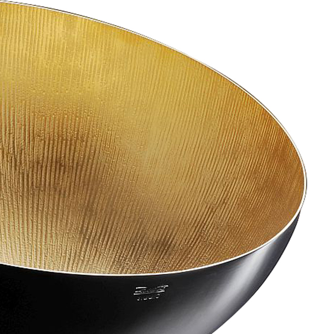 Atmo Sfere Bowl - This exquisite cup bears a modern design evident in the minimalist structure, the semi-spherical base and the large opening at the top, which can in turn become the base supporting a smaller cup. The interior of both bowls features a precious multifaceted texture obtained by hand-hammering the surfaces which are golden on one side and silver on the other. Versatile and functional, this elegant piece of design can be used as a drinking cup, a centerpiece, or a small tray to display small objects or finger food. | Matter of Stuff