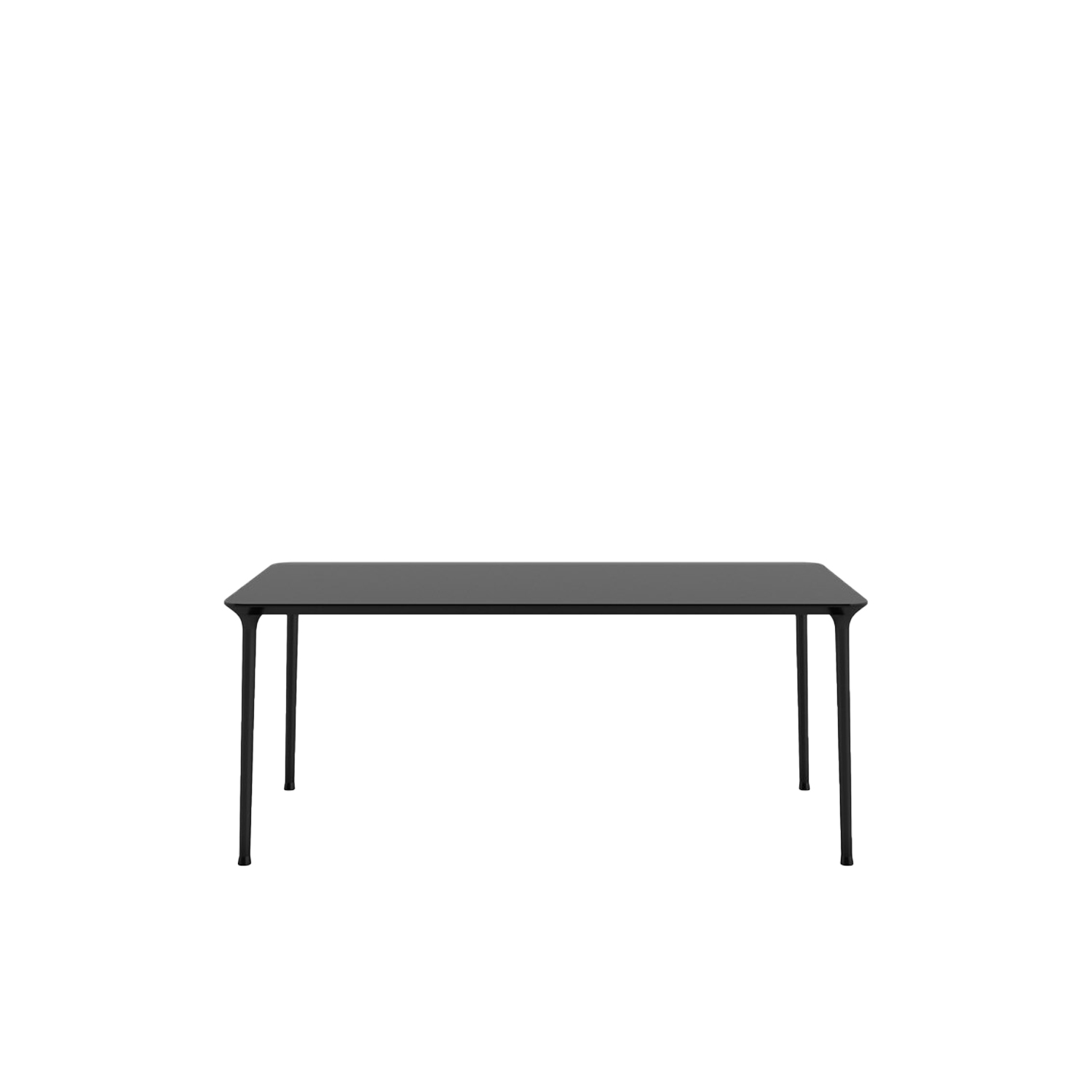 Spindle Rectangular Table  - A collection of tables characterized by tapered legs realized through die casting of aluminium and linked with the thin rounded top that gives a pleasant softness and prettiness. The removable legs and its stackability are two characteristics that make it particularly suitable for the contract use, while the complete range of tops dimensions, square or rectangular, allows to satisfy different needs both in collective and residential environments: like writing desks, dining or meeting tables. | Matter of Stuff