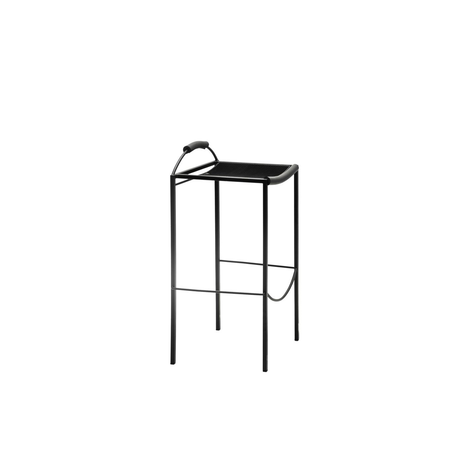 Sgabello Alto - The Sgabello Alto is a minimalist, stackable stool that was designed in 1984 by Maurizio Peregalli. It has a very thin profile so this means that it is suited to office spaces as well as in the home. This elegant stool has an all-black tubular steel frame. The frame is epoxy painted semi opaque black and the seat is made with thousand points rubber. The back is in black extruded rubber  | Matter of Stuff