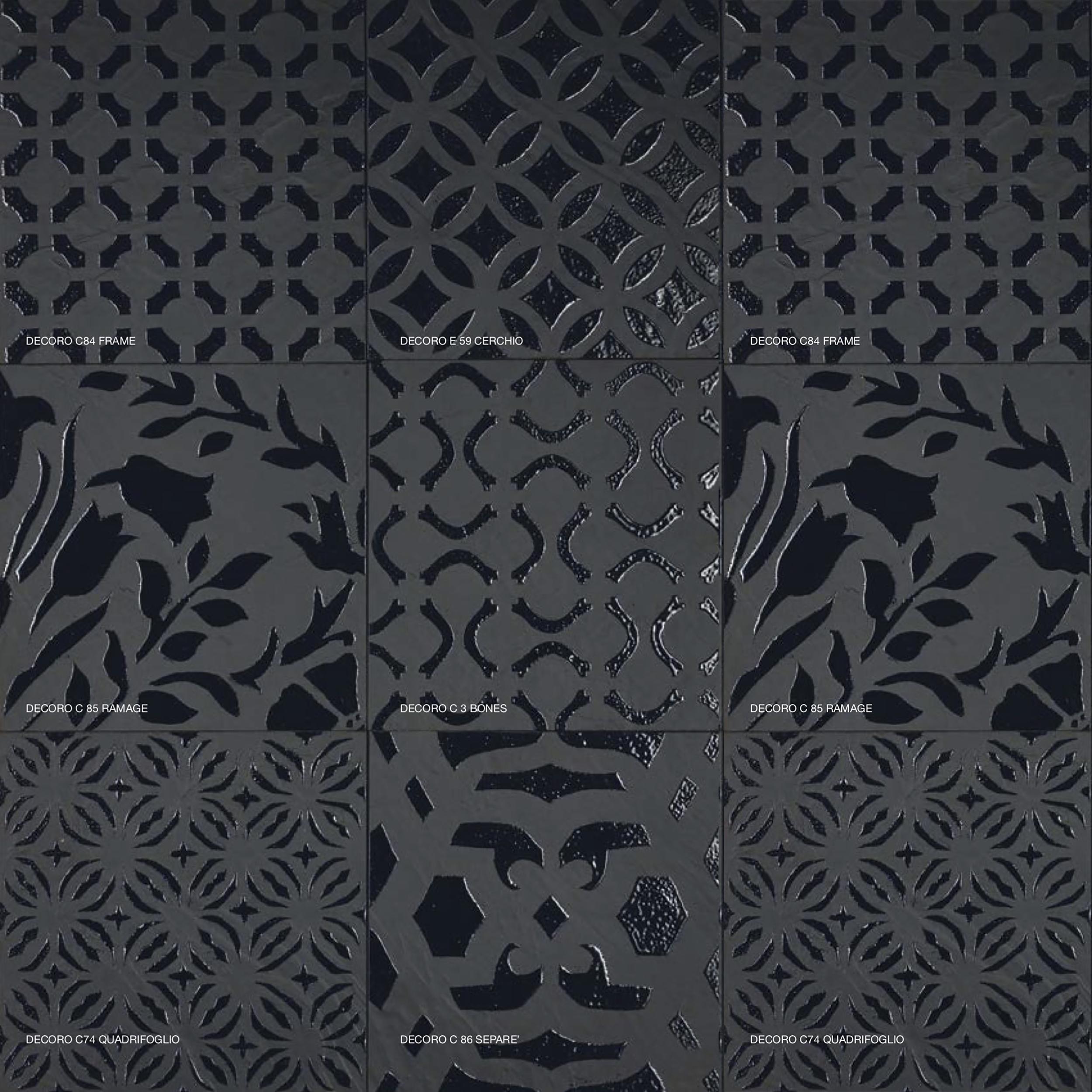 Square Tiles Geometrical Decorations - Decorations available are:  C84 Frame, E59 Cerchio, C85 Ramage, C3 Bones, C74 Quadrifoglio, C86 Separe' | Matter of Stuff