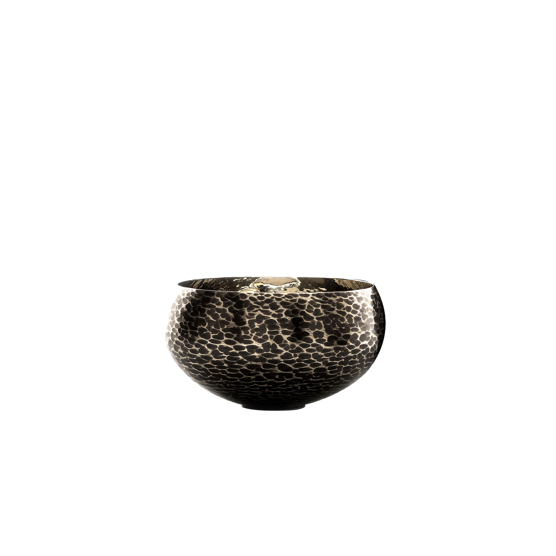 Filicudi Bowl - This large bowl was made of bronze that was given special burnishing, creating unique decorative patterns on its exterior. A very versatile piece of functional decor, this bowl can double as a centerpiece on a dining table and can be used in an entryway to store and display small everyday trinkets. This striking object can be paired with the Filicudi Bowl for a dynamic effect.  | Matter of Stuff