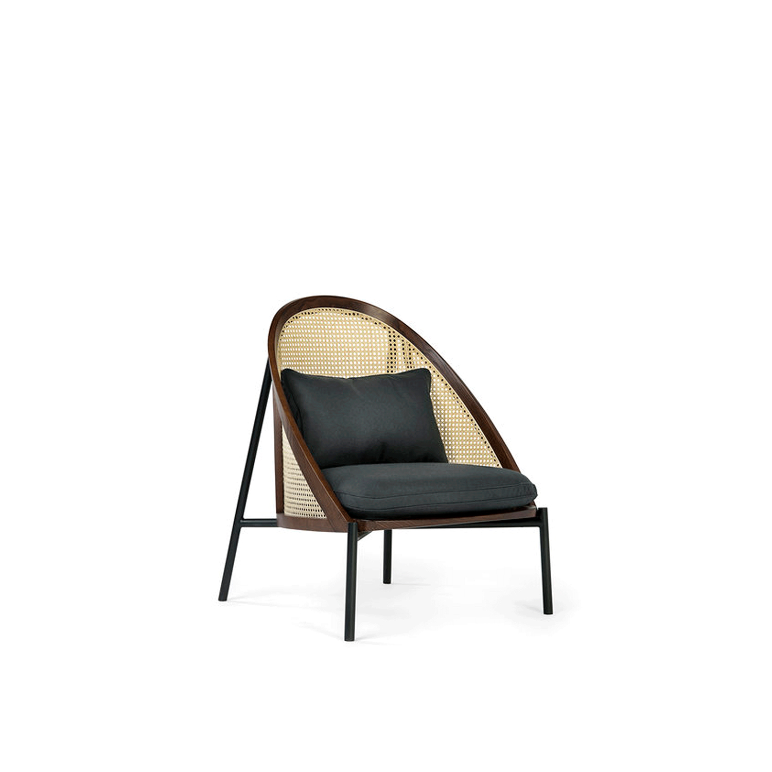 Loïe Lounge Chair - A harmonious combination of comfort and refined design, tradition and modern aesthetic. The standout element of this piece is its enveloping Viennese straw back and sides, framed in an elliptical structure in walnut-stained beechwood that was bent with Viennese-style signature steaming method. The base is in metal with a powder-base black finish with fabric belts to support the cushions. The wood is also available with a black stain.