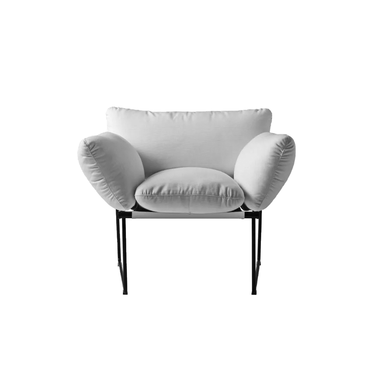 Elisa Armchair - Synthesis of lightness and comfort, with a minimal and elegant design. From a project designed by Enzo Mari for Driade, Elisa is a collection of sofas and armchairs with a thin structure, in contrast with the soft volume of the cushions. Extremely comfortable thanks to the large and generous shapes of the polyurethane foam cushions, the Elisa sofa and armchair are characterized by the essential design of the base, a slender steel structure with sled supports that makes the whole elegant and light. Beautiful furnishing accessories which, thanks to the simplicity of their line, are refined and sophisticated. The sofa is proposed in the two dimensional variant with two and three seats and with covering to choose from in a wide range of colors. Available in indoor and outdoor versions.  Indoor Use Only | Matter of Stuff