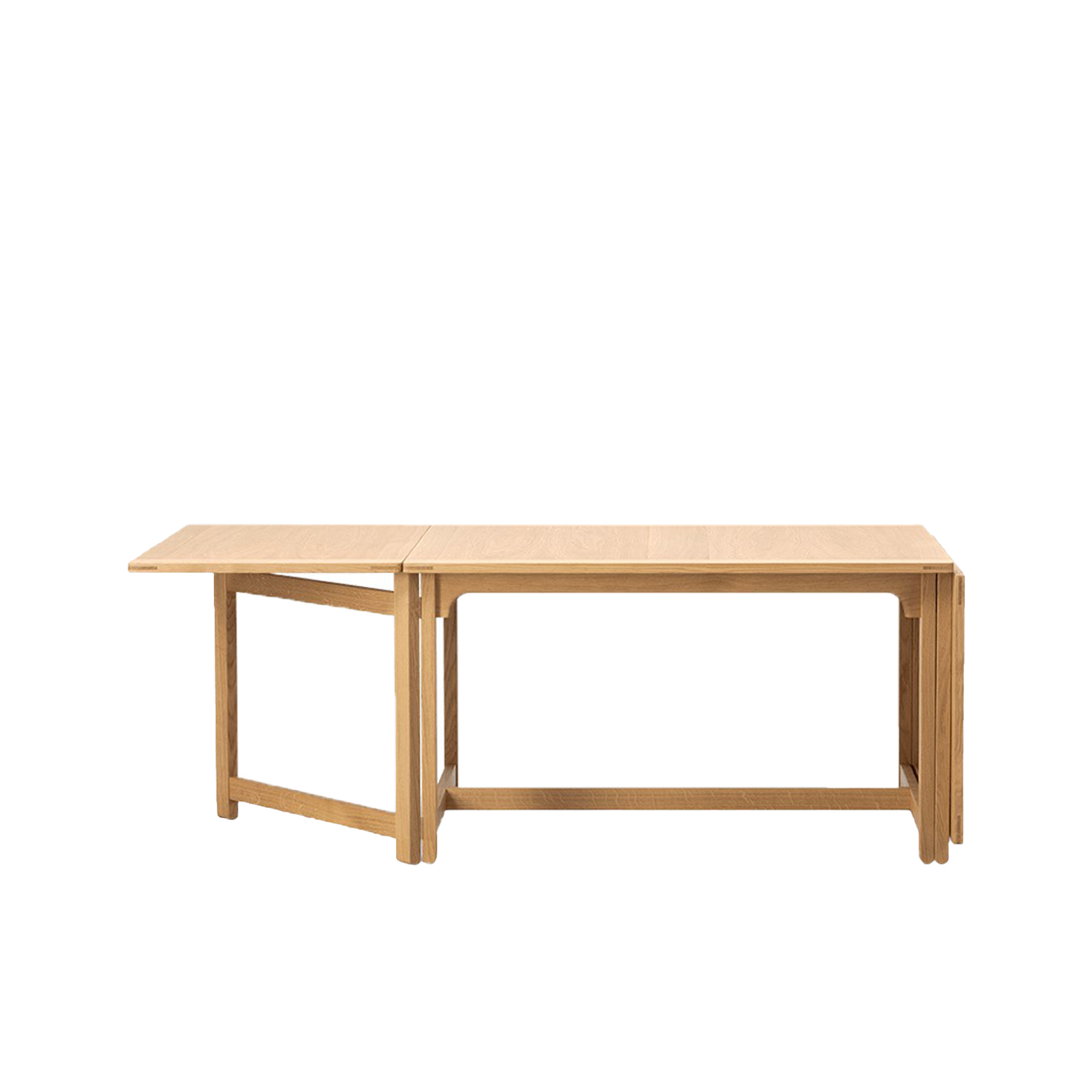 BM 71 Library Table - The Library Table is modest yet confident and refined in its visual expression. Pure in terms of lines and construction, it reflects Mogensen's meticulous, ultra functional approach to design, where every detail has a precise purpose that correlates to its use.  Practical, durable designs to enrich people's everyday lives. That sums up the essence of Børge Mogensen's overall intention with his work. Referring to wood as his preferred material, Mogensen designed an array of pieces noted for their sober expression and superb sense of proportion.   Mogensen applied the same principles to his iconic series of tables, appreciated for their clean, uncluttered lines inspired by the functional, utilitarian approach of the Shaker movement.   All our Mogensen tables reflect his ambition to create beautiful, distinctive furniture by emphasising simple horizontal and vertical lines and surfaces. A restrained aesthetic with a modest appearance intended to create a sense of tranquillity.   All of which makes the Mogensen tables an ideal choice for any gathering you can imagine. From corporate settings and meeting rooms to group dining and socialising. | Matter of Stuff