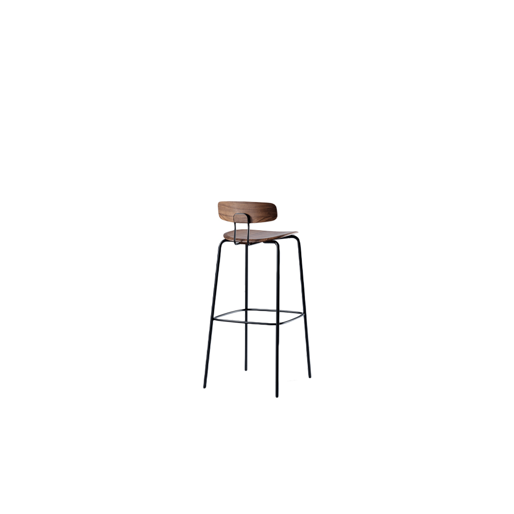 Okito Backrest Stool - OKITO BAR – aesthetic material connection of tubular steel and solid wood. OKITO BAR is available in two seating heights, height 65 cm and 80 cm. The heart of this minimalist chair is the solid wood seat. With its CNC-milled form, the solid wood seat anchors the frame and backrest. The brackets are simply bolted to the underside and are not visible from above. The connection of the backrest is achieved without visible fixings, creating a strikingly simple silhouette – a key feature to the OKITO family. In addition to the ergonomically shaped solid wood seat and backrest, the double bar of the backrest contributes to the special seating comfort of the chair.  Okito bar backrest stool is available in oiled oak, colour stained oak and oiled American walnut.  Available in high backrest at an additional charge upon request.   For colour stained oak options, please refer to the catalogue.  | Matter of Stuff
