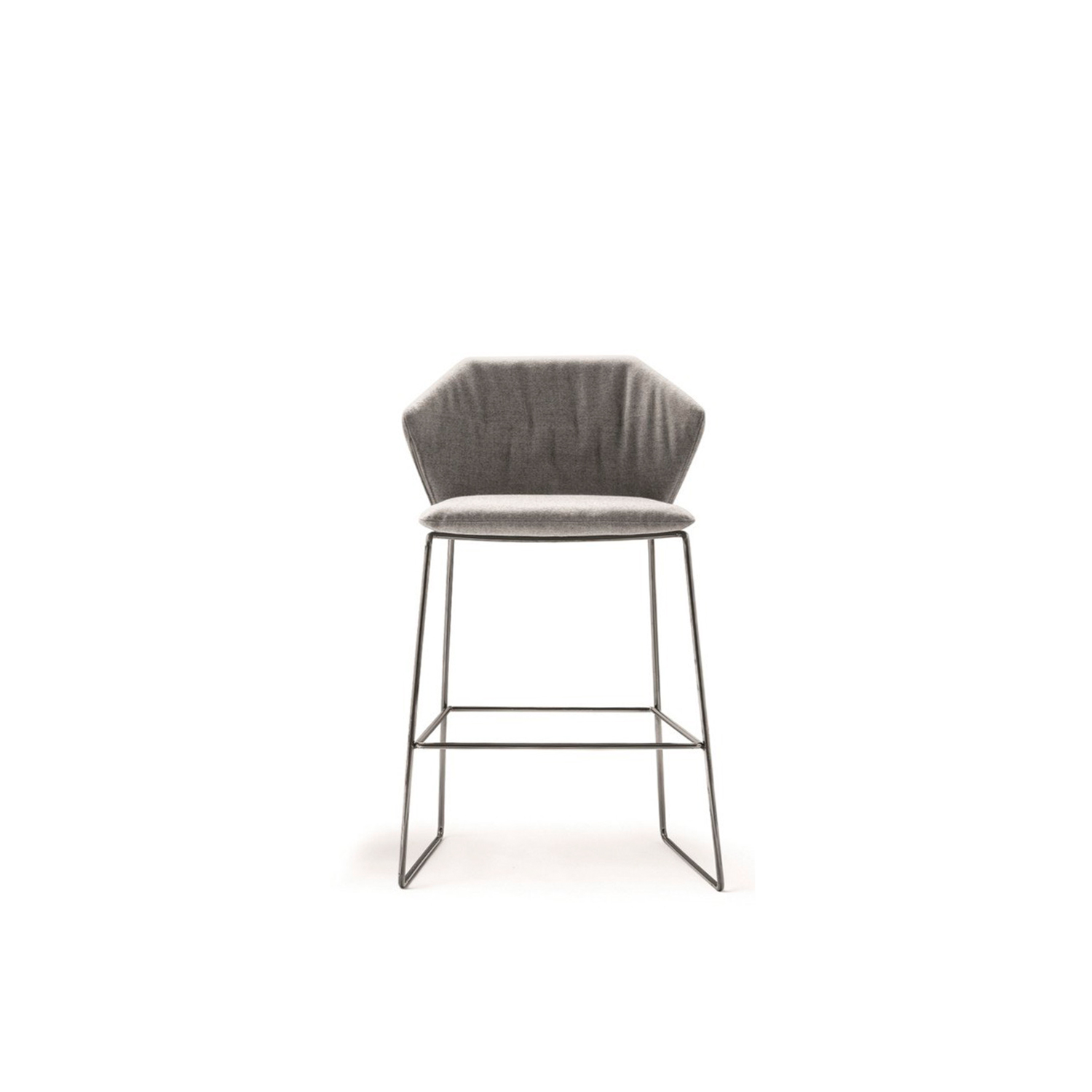 New York Stool - The New York collection expands its product range to welcome a line of stools, designed to be the vertical development of the series without armrests. The result highlights the flexible structure of the seating, while still featuring the comfortable padding that is embellished with compact tone-on-tone quilting this time. Available in chrome-plated or varnished finishes. Completely removable.  Additional removable cover is available, please enquire for prices.  Materials Structure in 11 mm wire drawn. The seat is in metal sheet. Glossy chrome or painted finish. Velfodera coating on resin 280gr/sqm. Seat cushion in polyurethane foam covered with white cotton on 380gr/sqm polyester fiber. | Matter of Stuff