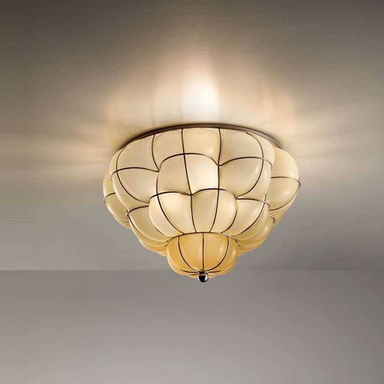 Pouff Ceiling Light - The Pouff Ceiling Light is similar to the Pouff Pendant Light with it's organic and natural form. It suits almost any room and adds a splash of personality with its modern twist on a traditional ceiling light. The Pouff Ceiling Light is hand made blown glass with suspension techniques of the old Murano glass masters.</p>This light comes in three different finishes: Smooth Milk White, Interior Satin Amber and Antique Satin Crystal.  <p>250V Input. 1X E27 max 60W ~ IP20 Bulbs</p>  | Matter of Stuff